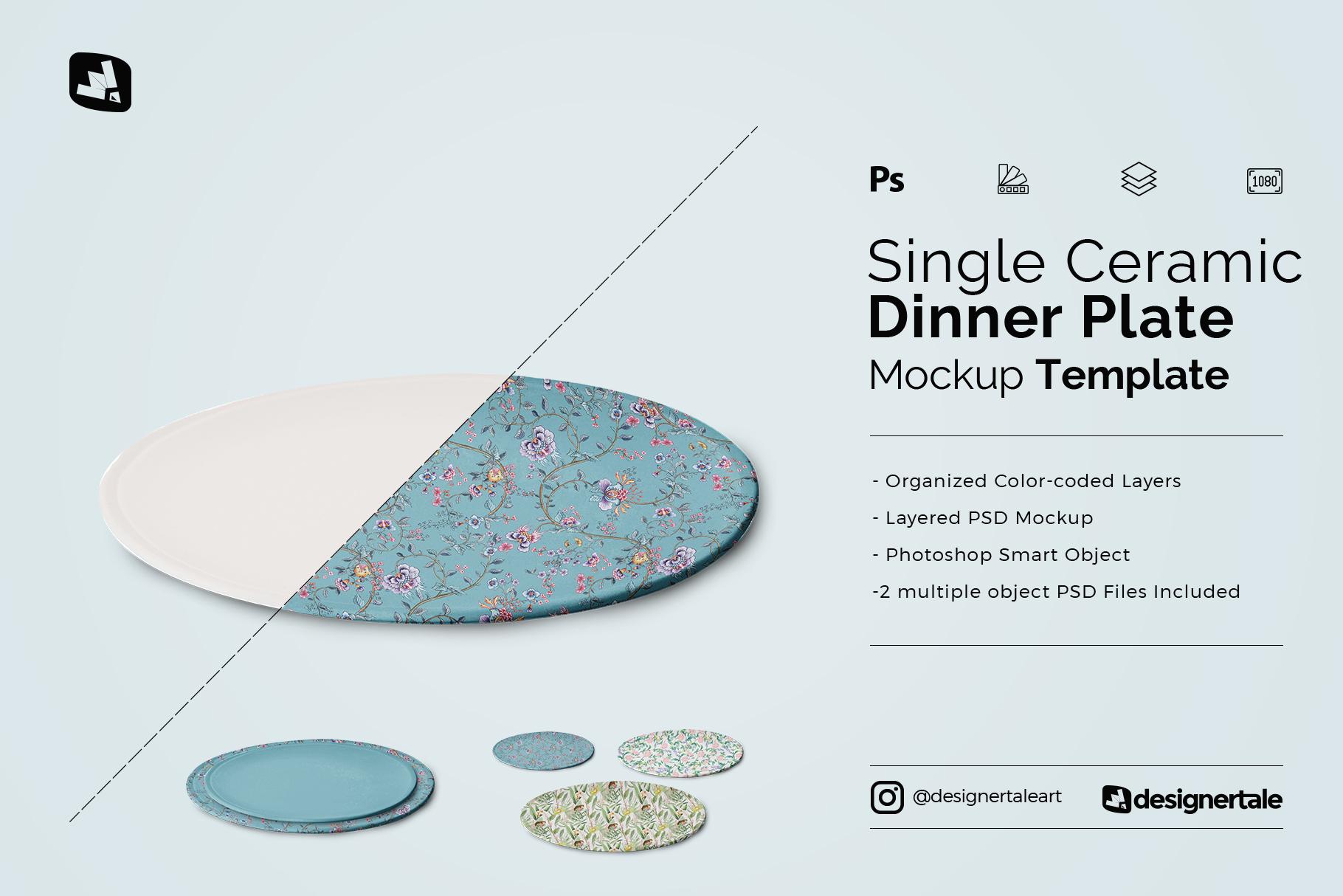 single ceramic dinner plate mockup