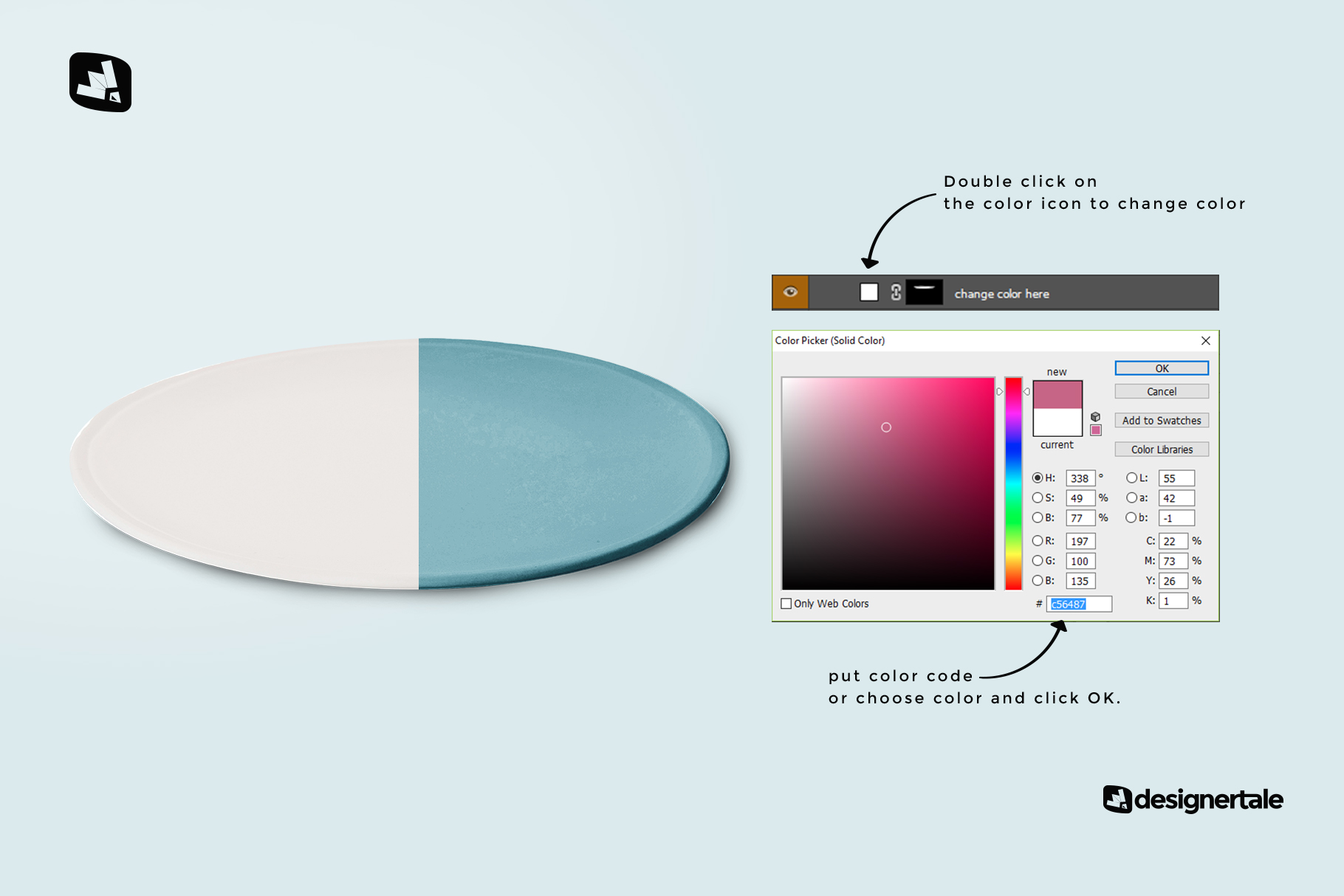 how to change the color of the single ceramic dinner plate mockup