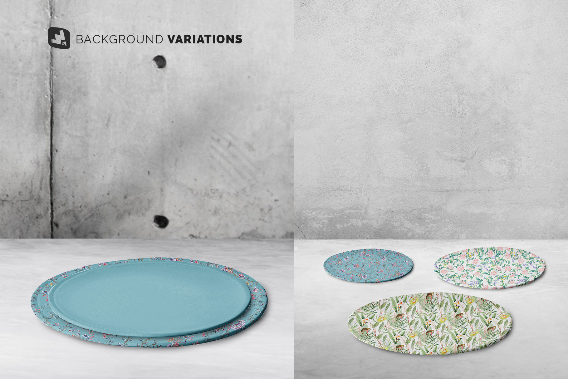 background options of the single ceramic dinner plate mockup