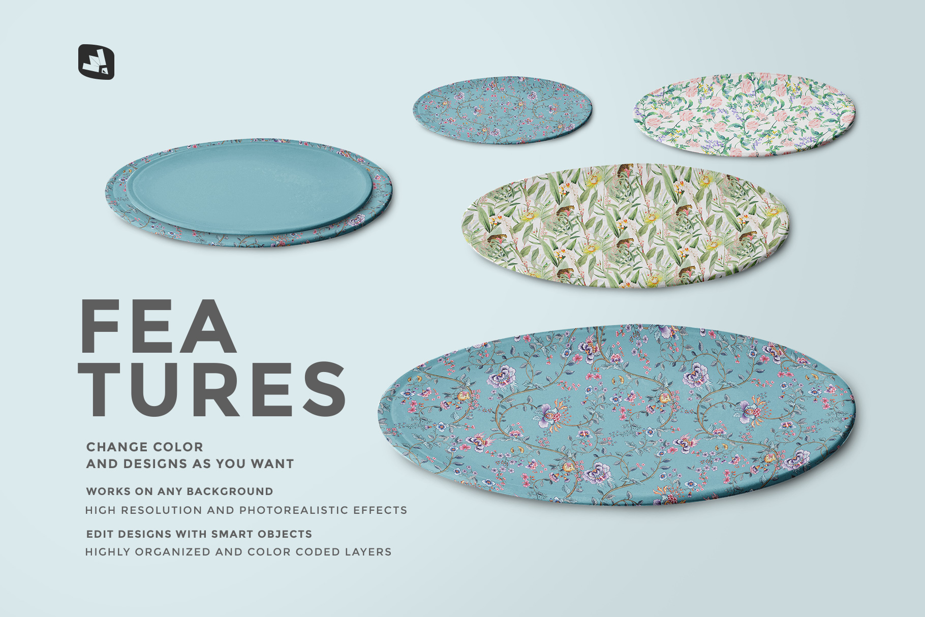 features of the single ceramic dinner plate mockup