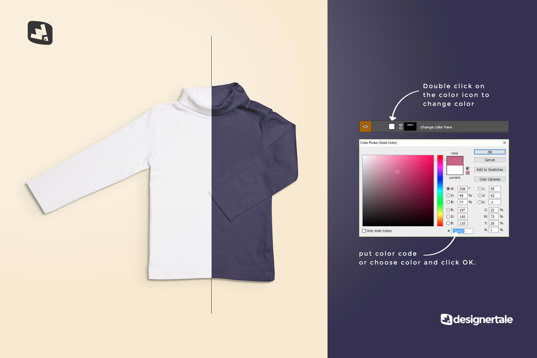 how to change color of the top view toddler turtle neck tshirt mockup