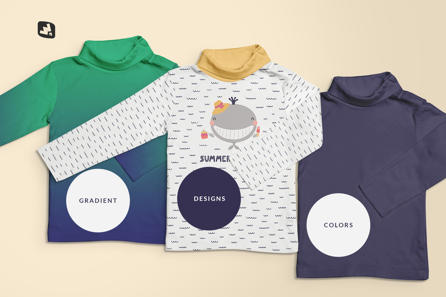 types of the top view toddler turtle neck tshirt mockup