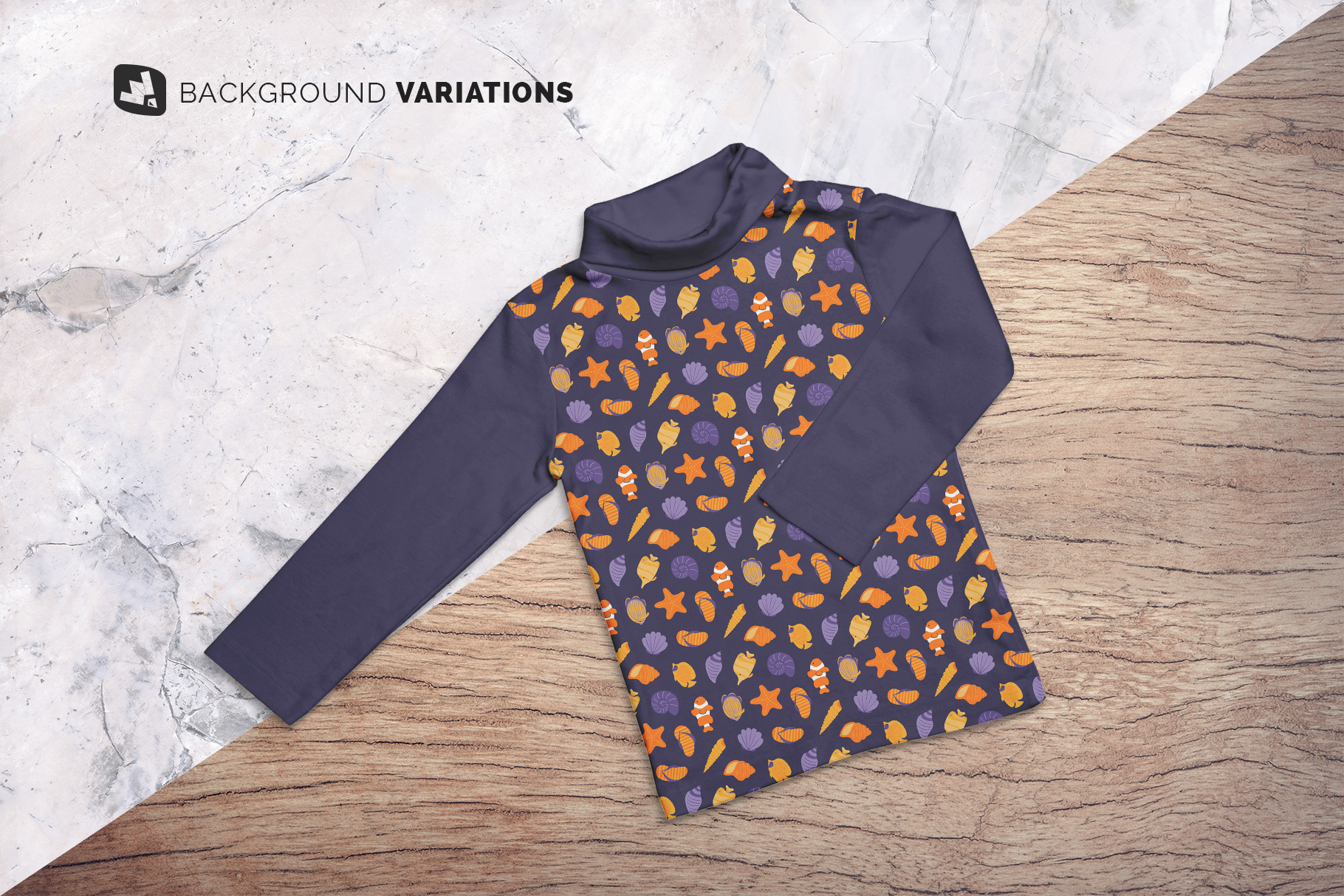 background options of thetop view toddler turtle neck tshirt mockup
