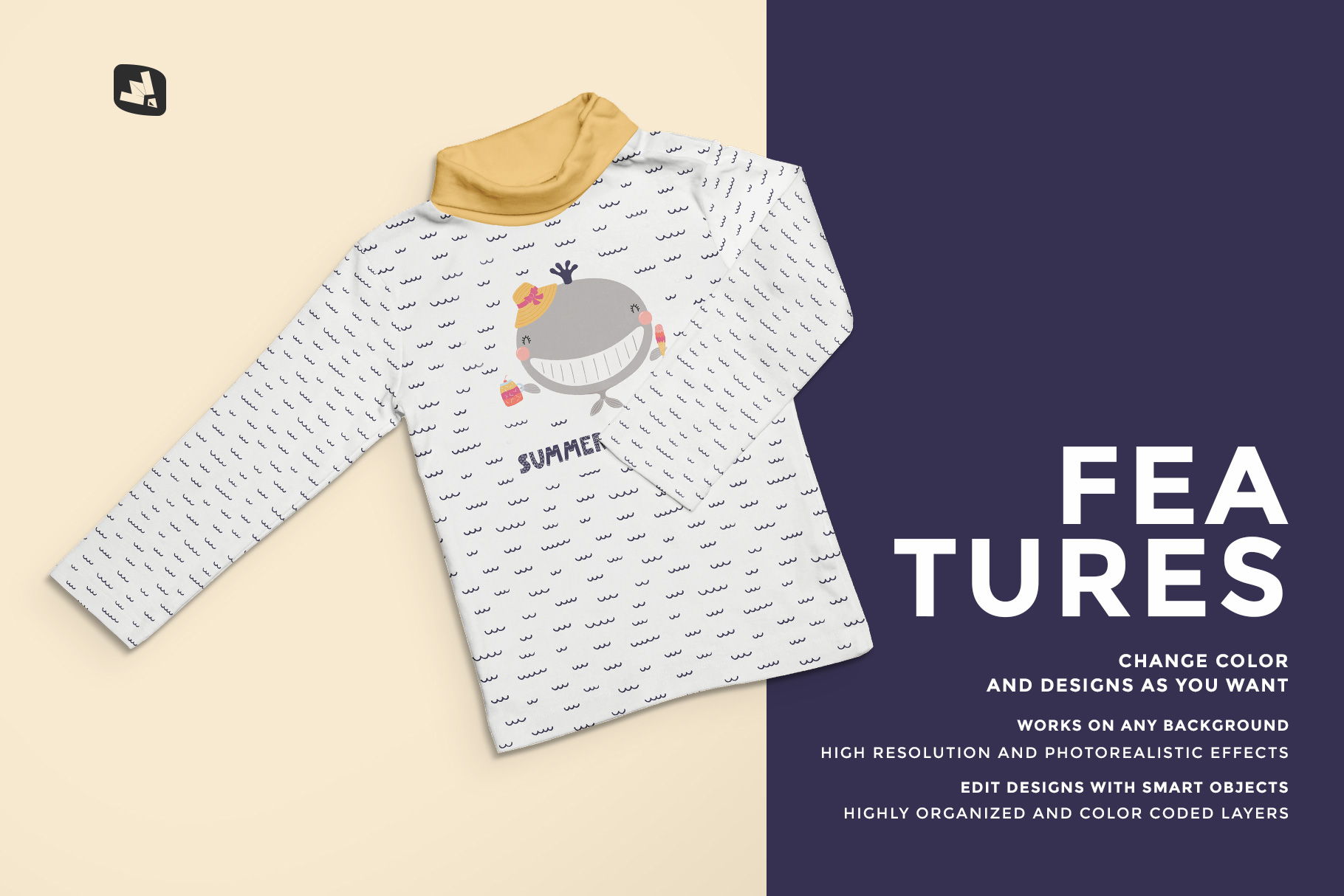 features of the top view toddler turtle neck tshirt mockup