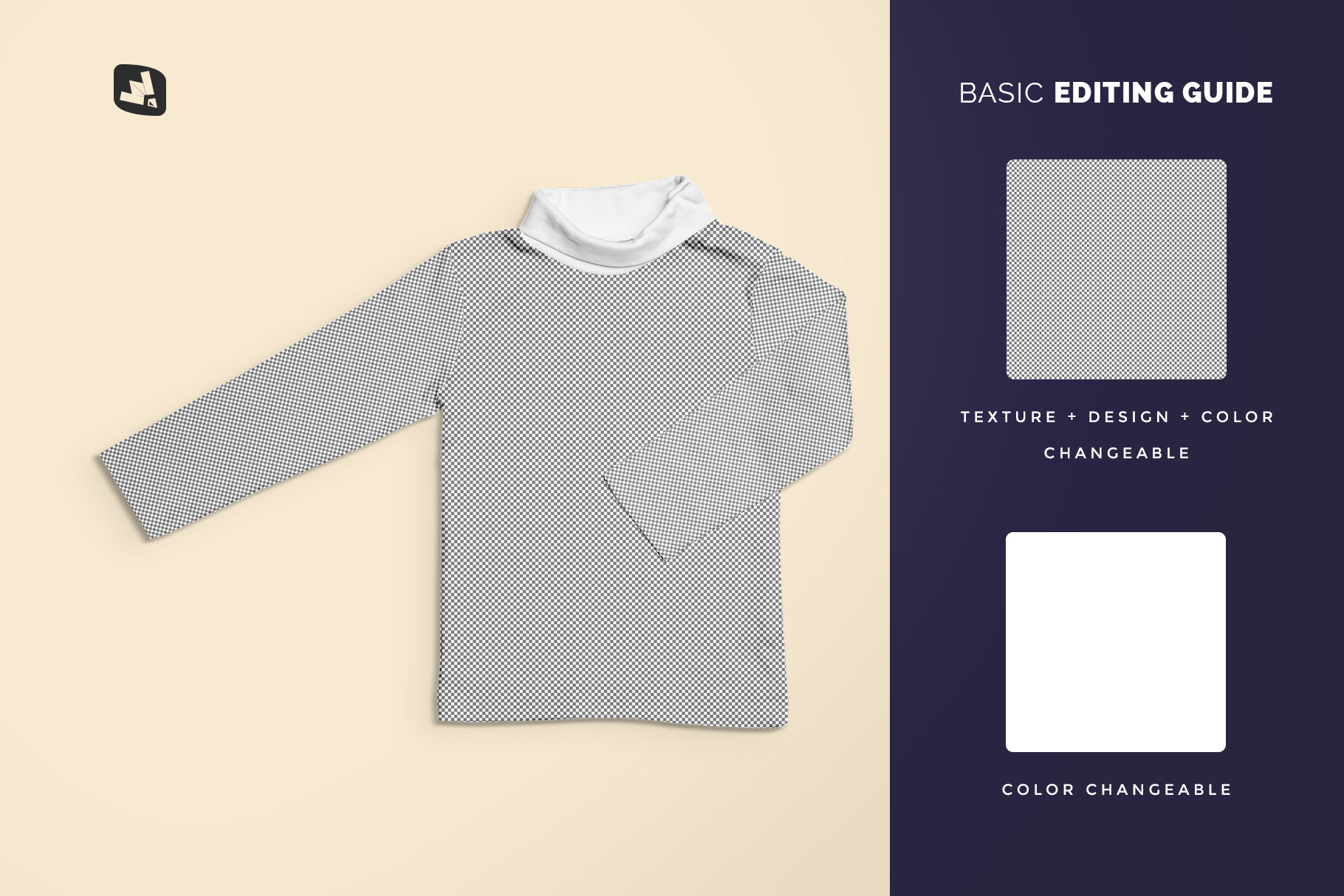 editability of the top view toddler turtle neck tshirt mockup