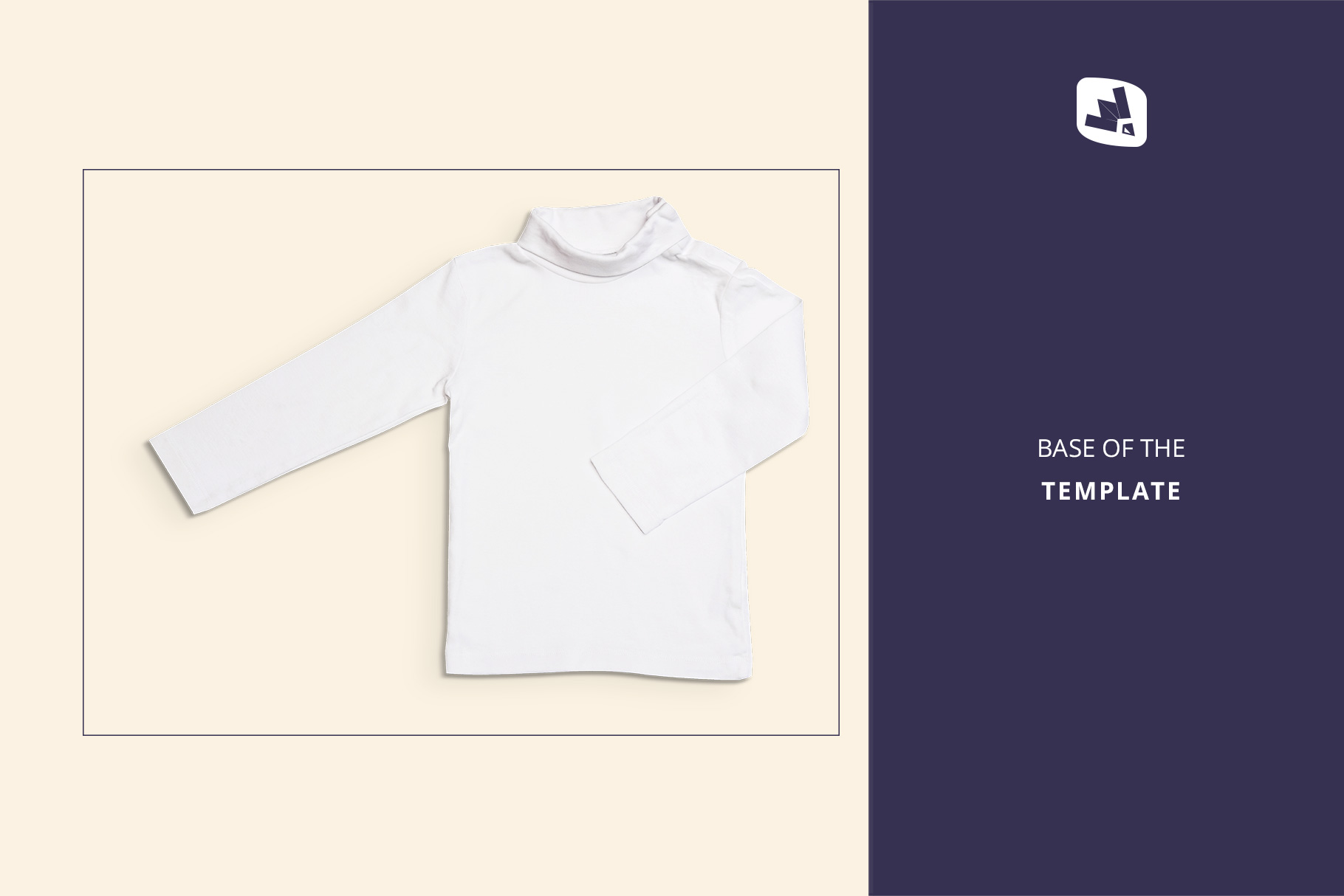 base image of the top view toddler turtle neck tshirt mockup