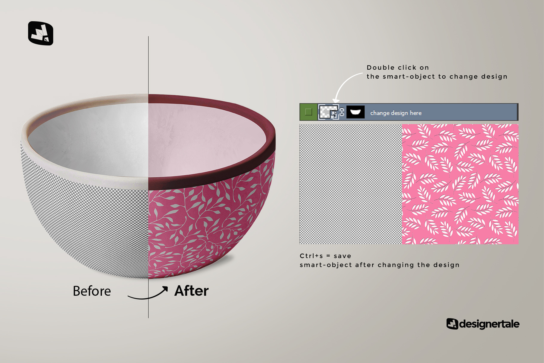 how to change design of the front view bowl mockup vol.2