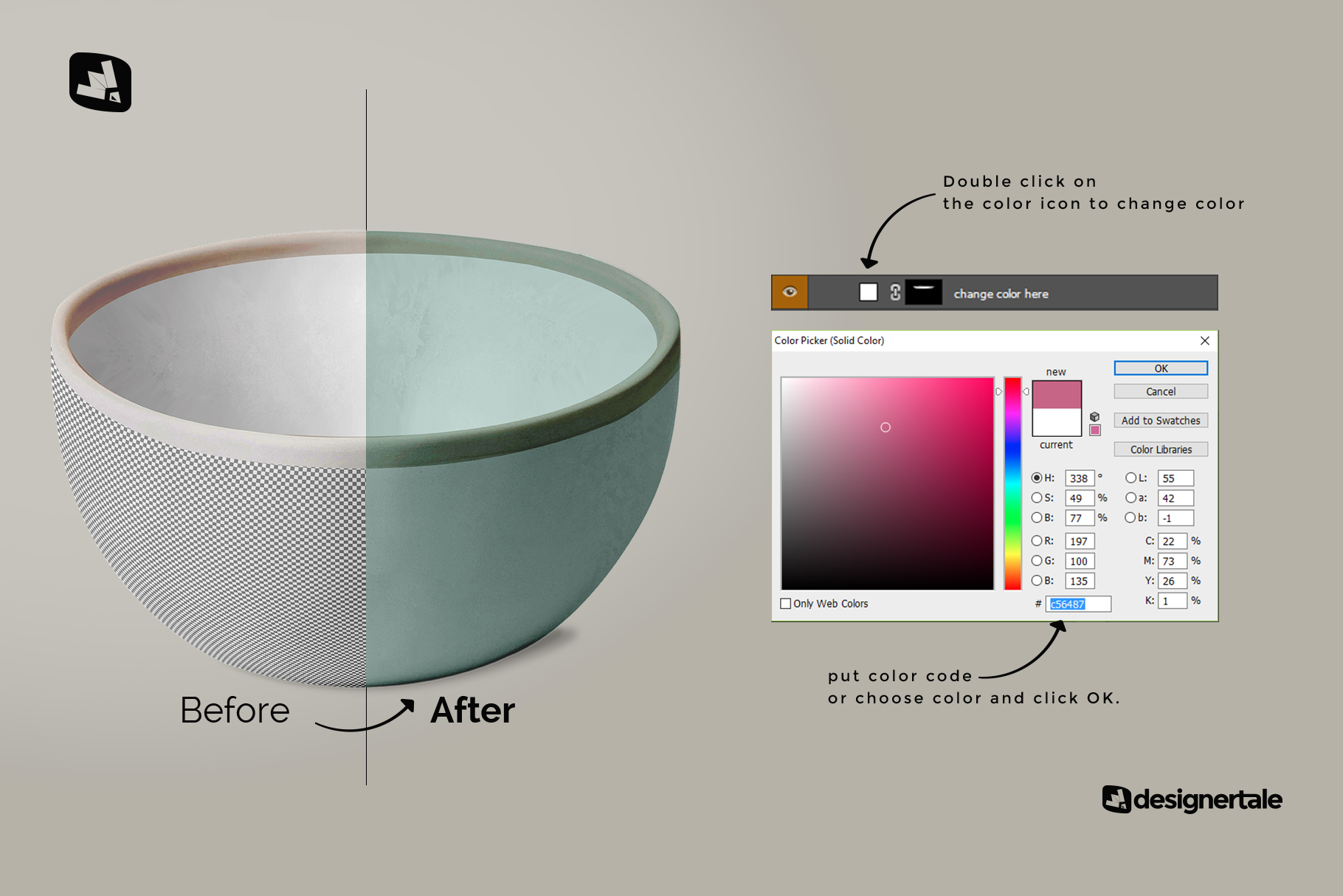 how to change color of the front view bowl mockup vol.2