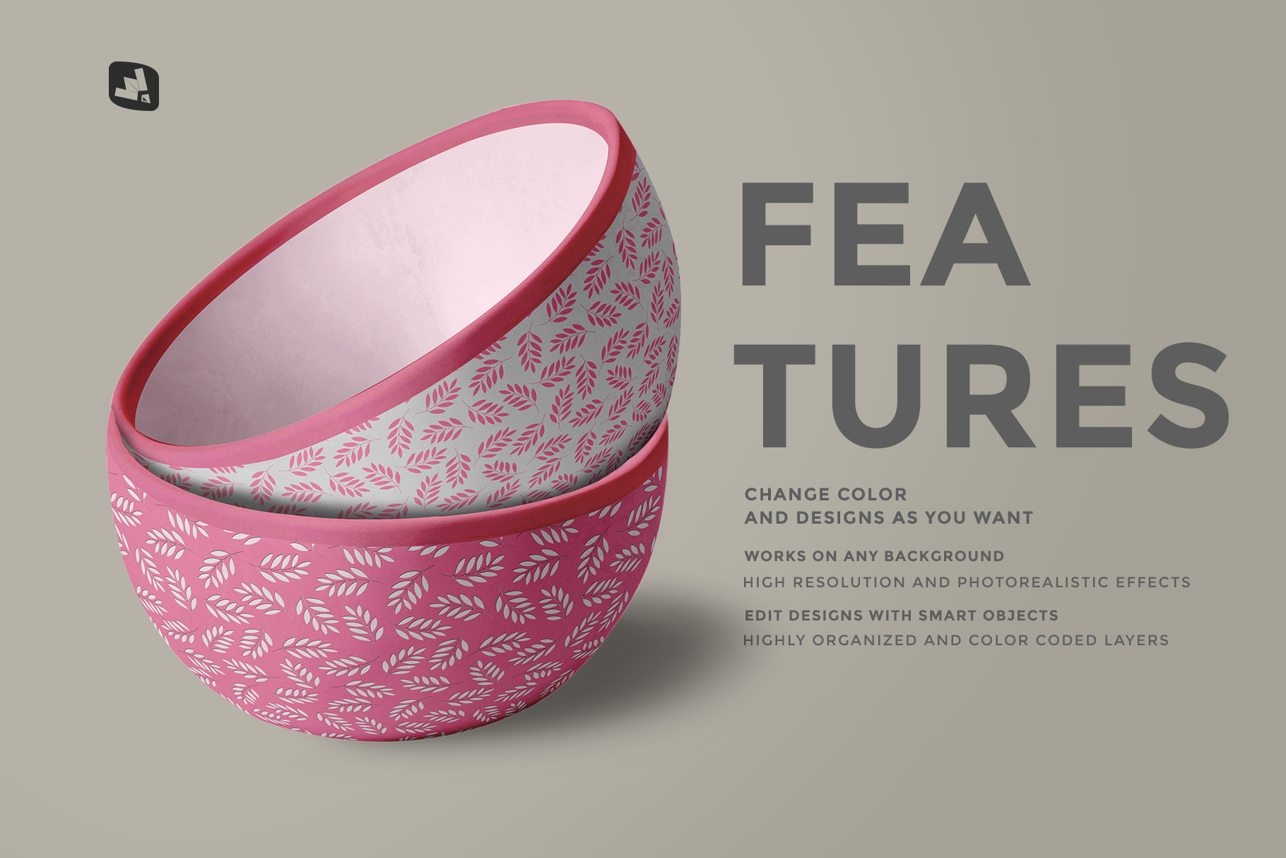 features of the front view bowl mockup vol.2