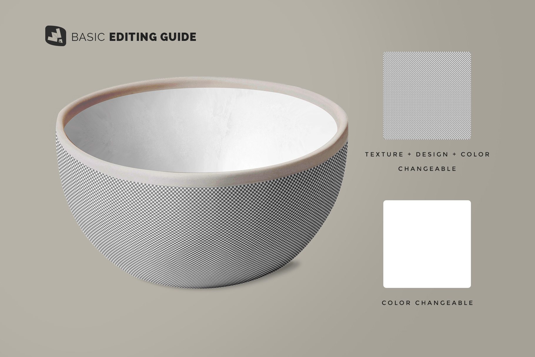 editability of the front view bowl mockup vol.2