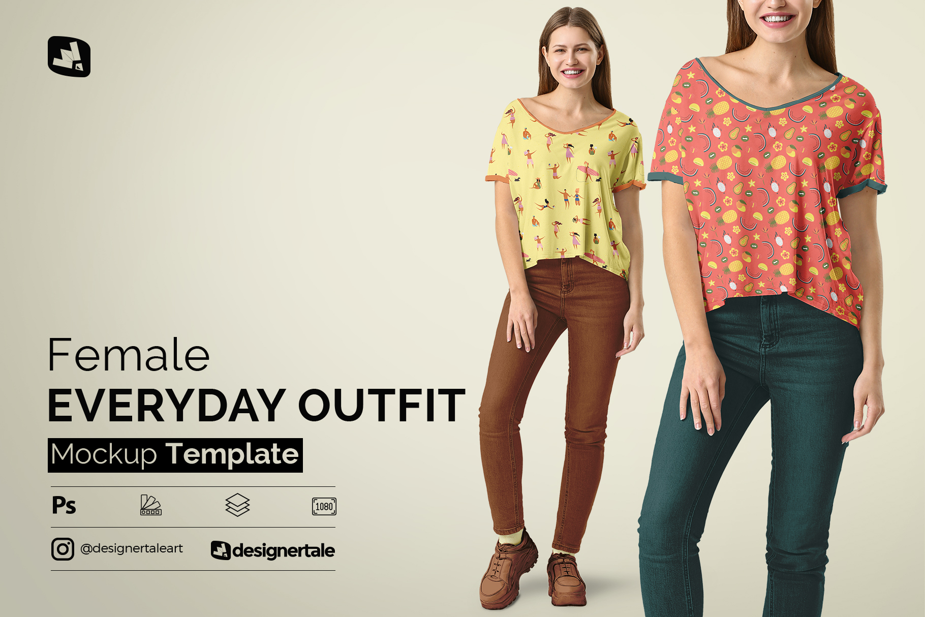 female everyday outfit mockup