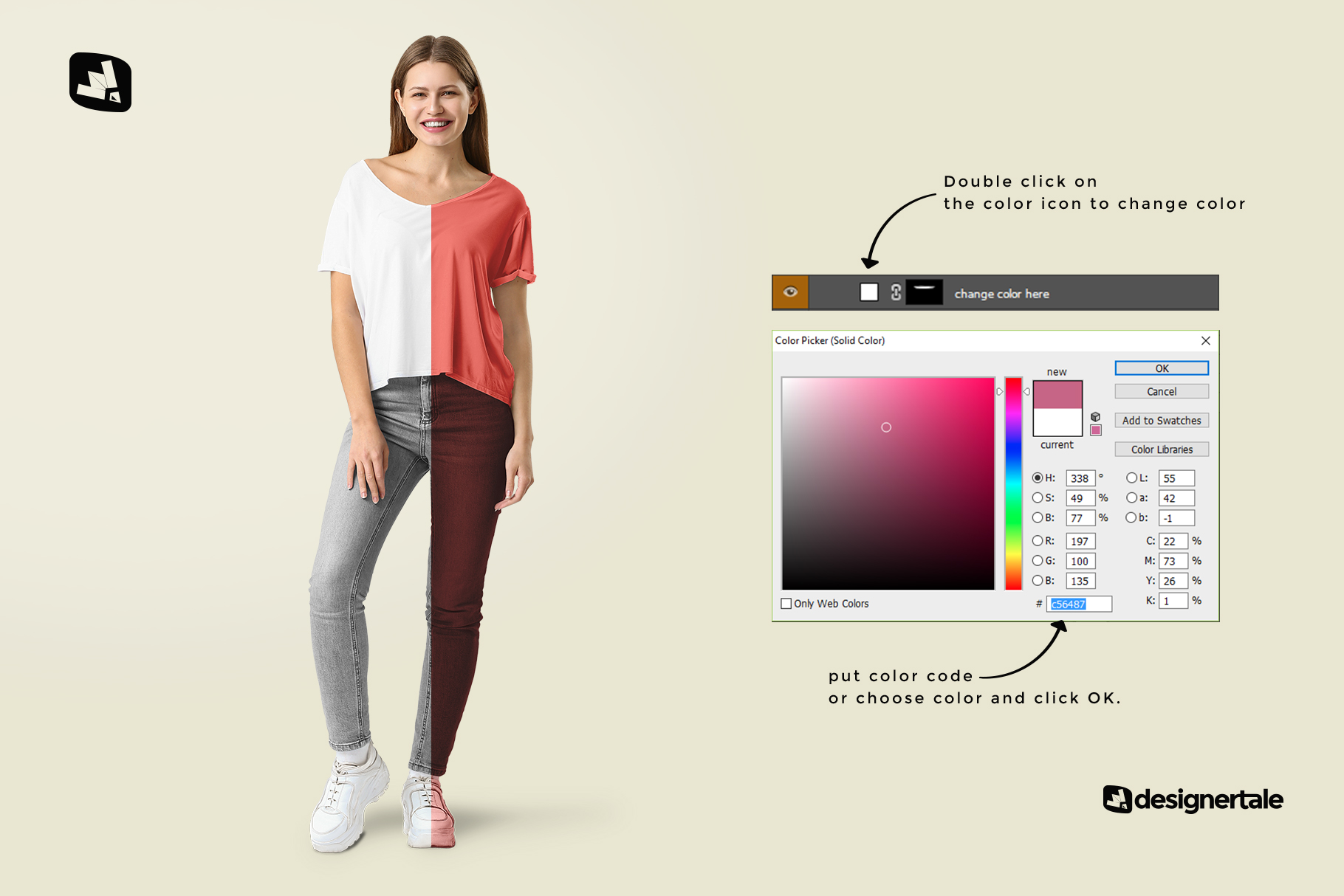 how to change coor of the female everyday outfit mockup