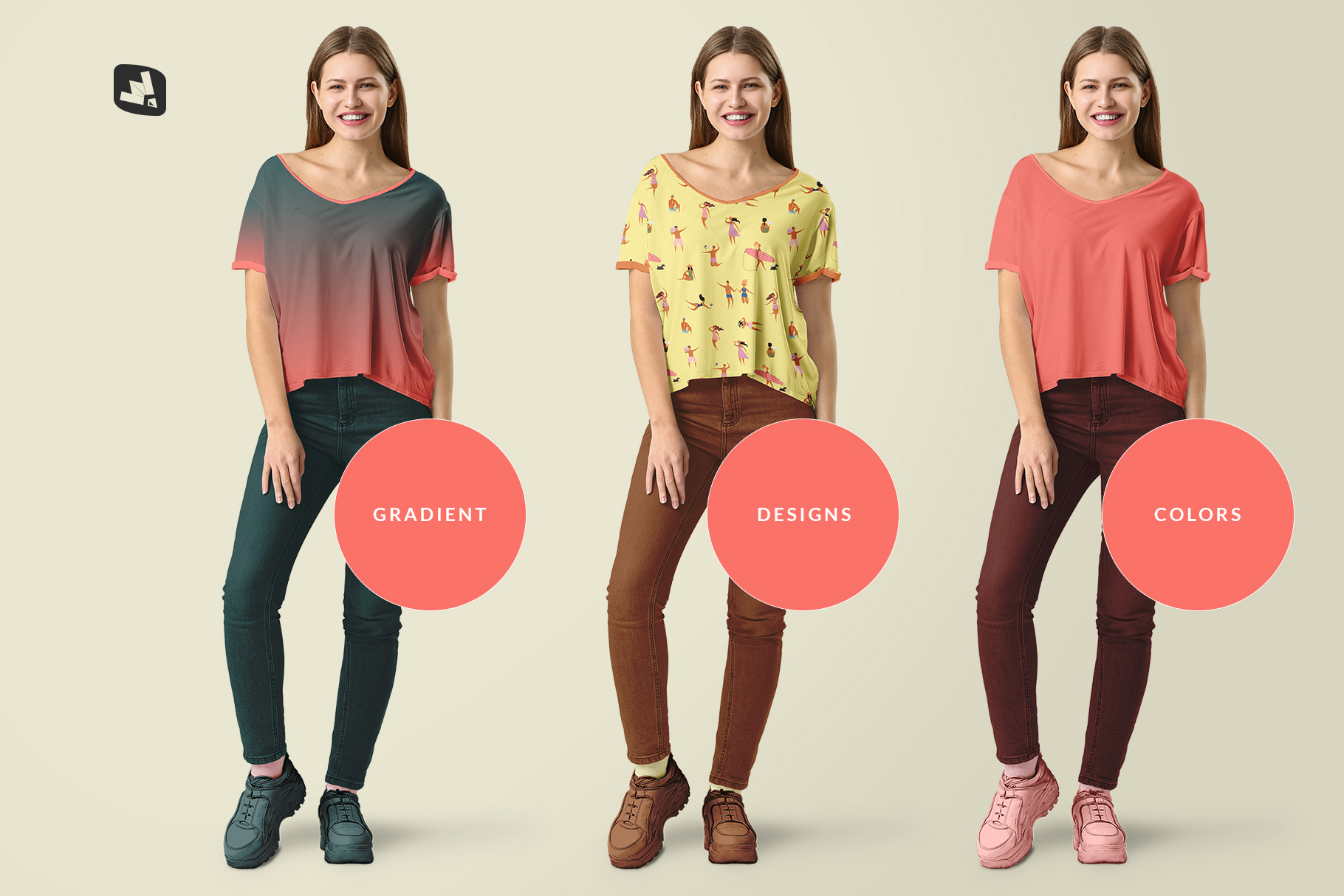 types of the female everyday outfit mockup