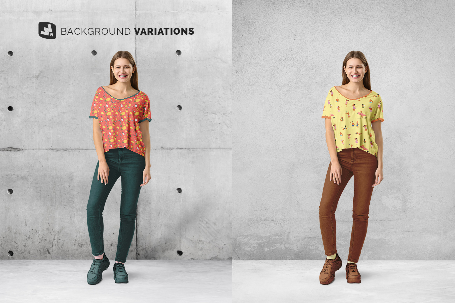 background options of the female everyday outfit mockup
