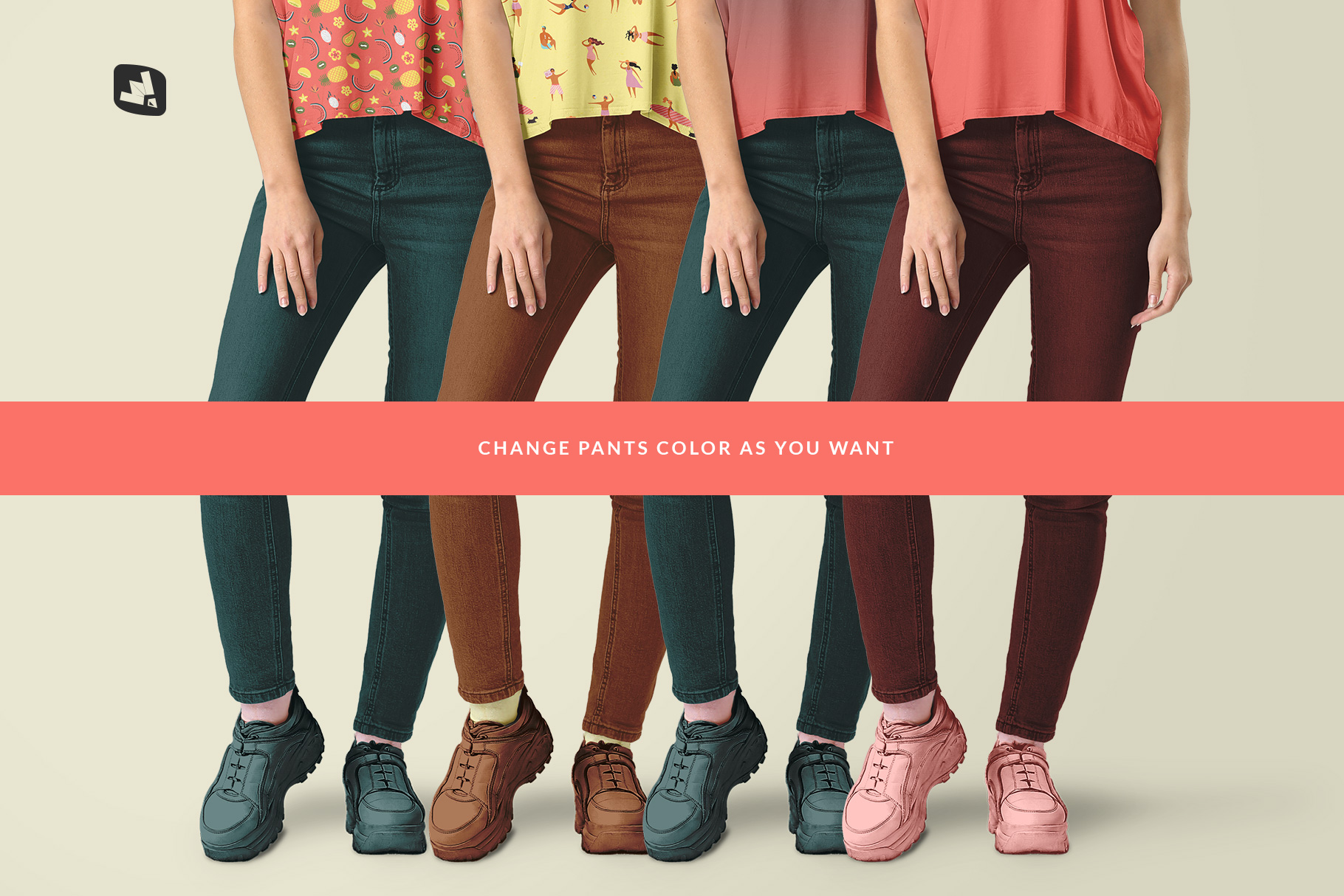 customizable pants socks and shoe color of the female everyday outfit mockup