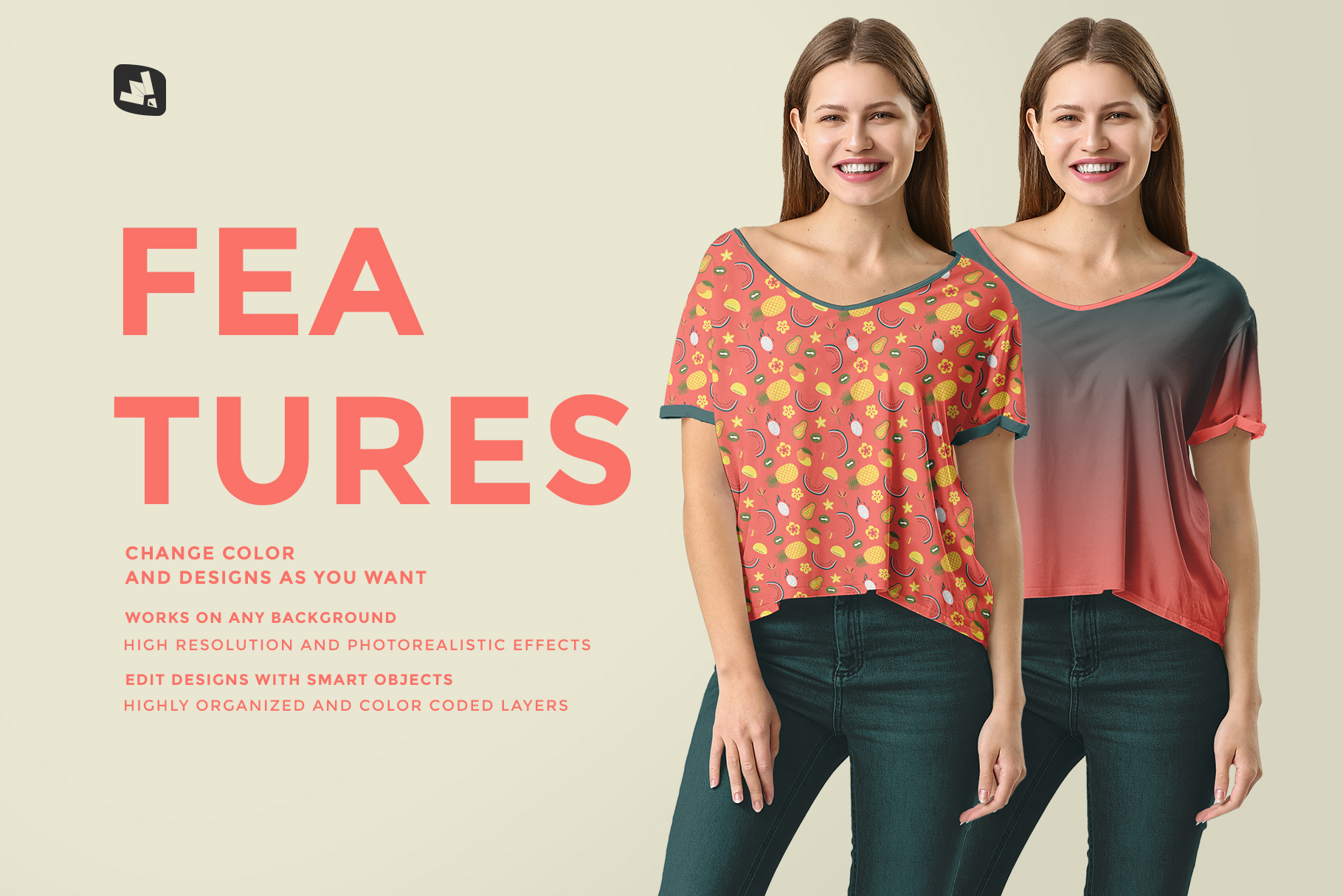 features of the female everyday outfit mockup