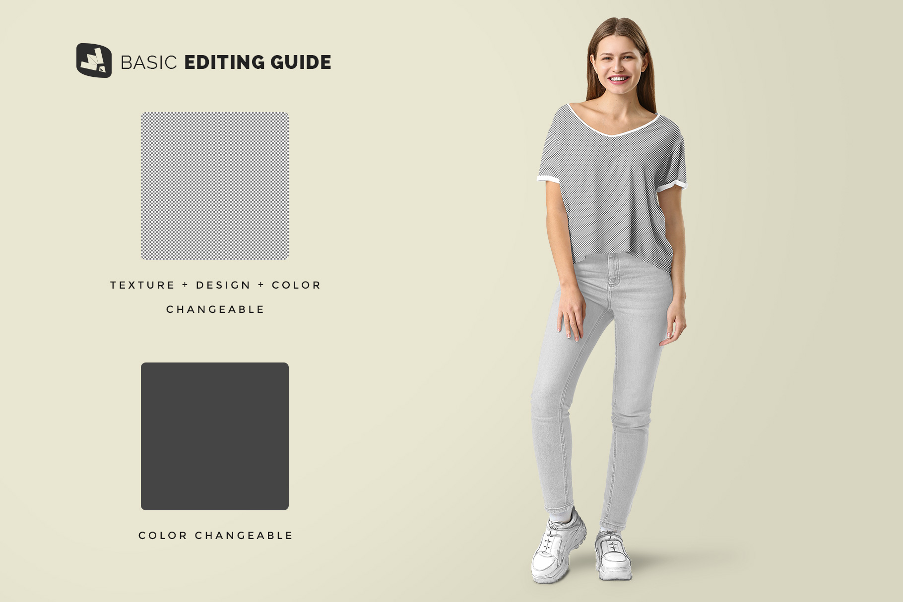 editability of the female everyday outfit mockup