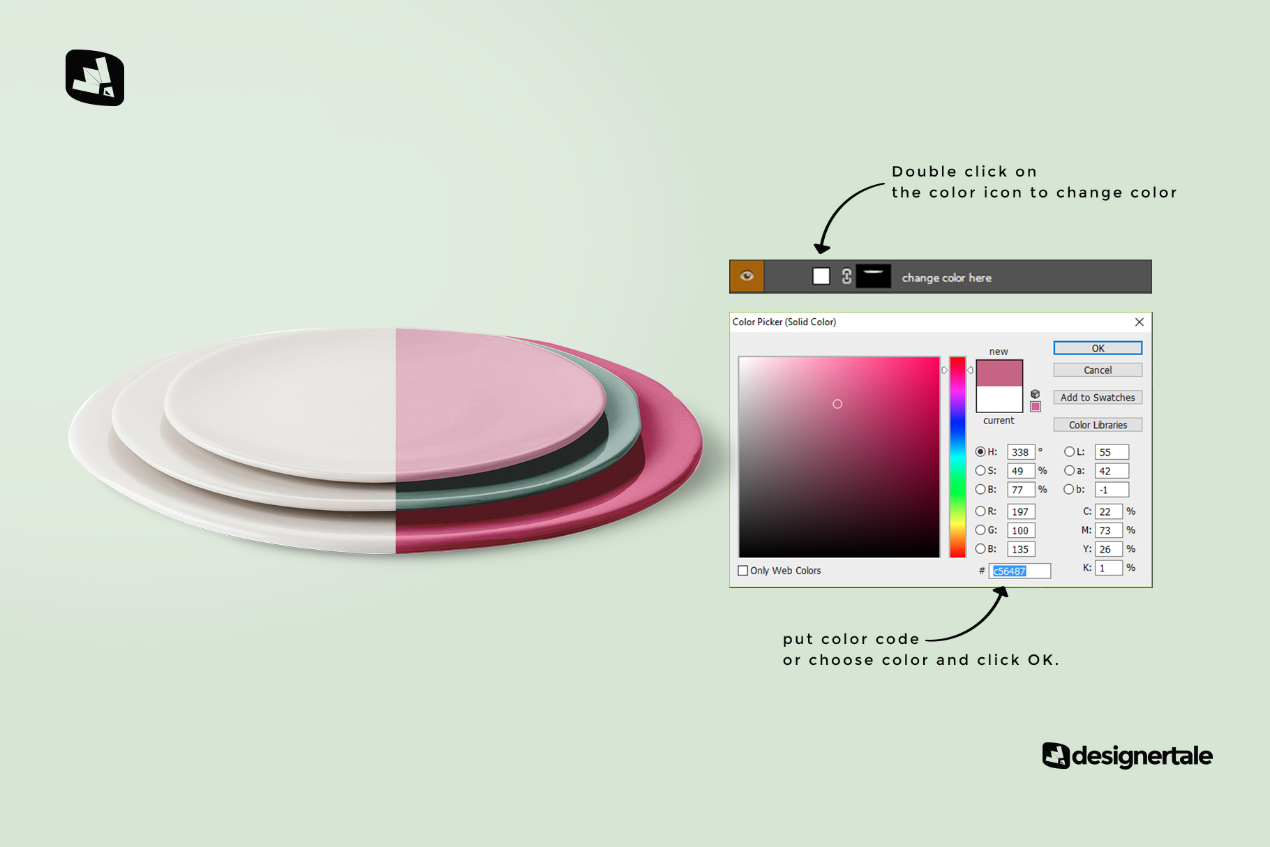 how to change color of the stacked ceramic plate mockup