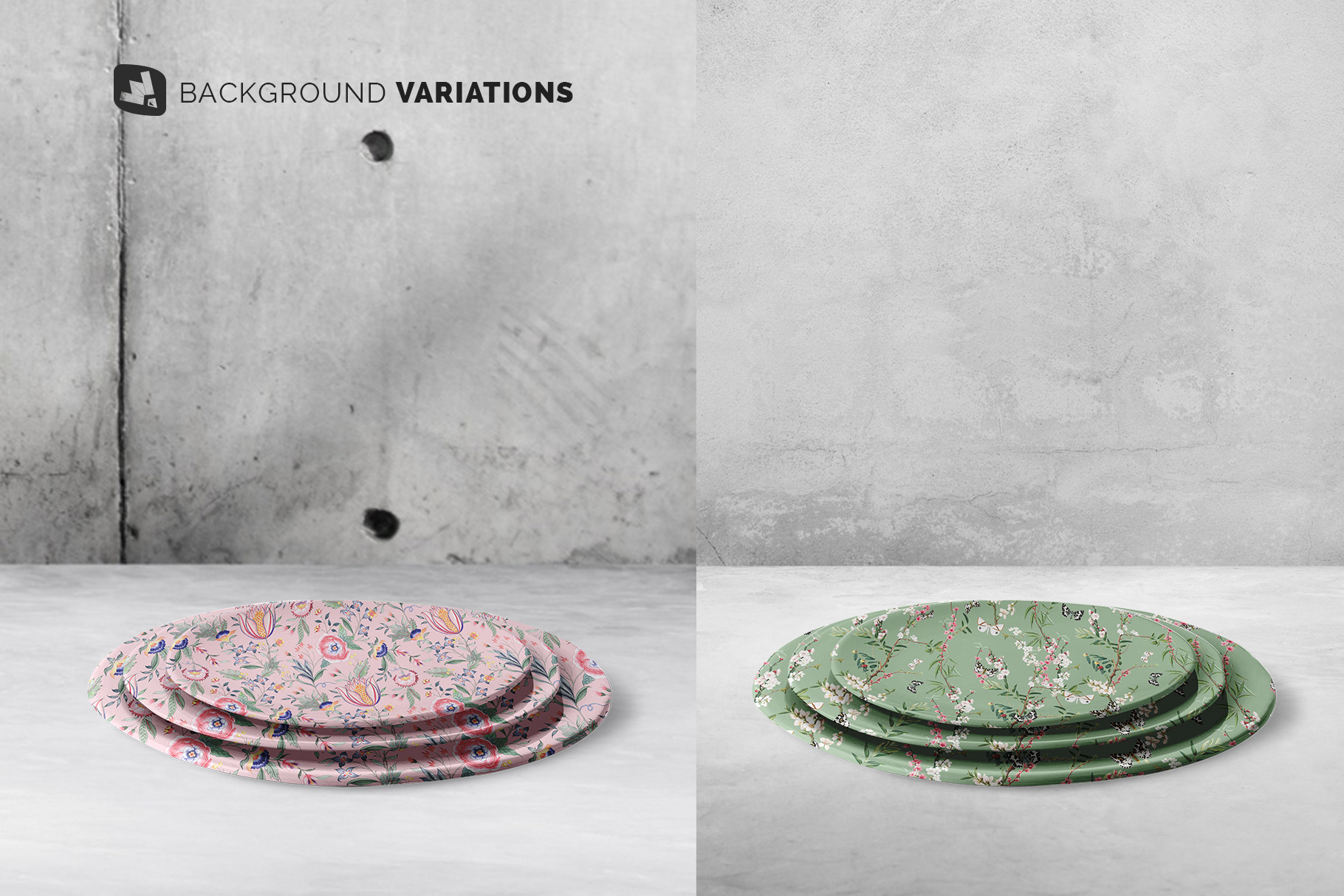 background options of the stacked ceramic plate mockup