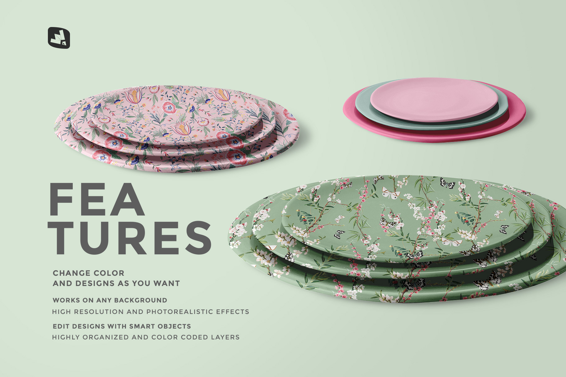 features of the stacked ceramic plate mockup