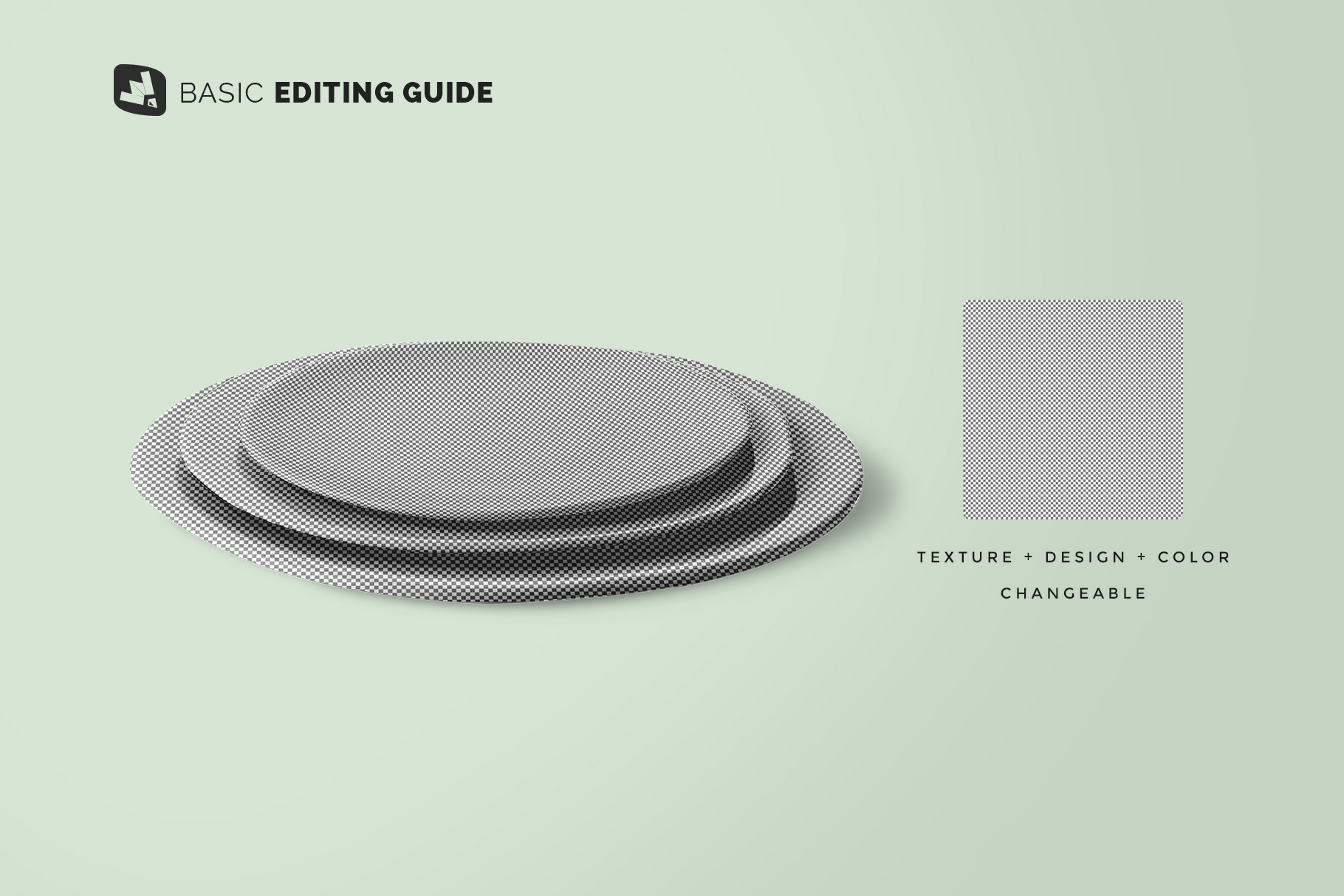 editability of the stacked ceramic plate mockup