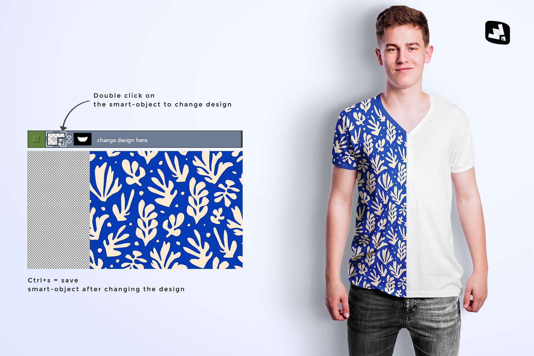 how to change design of the mens vneck tshirt mockup