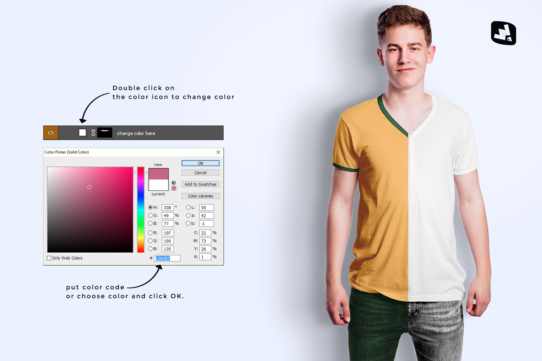 how to change coor of the mens vneck tshirt mockup