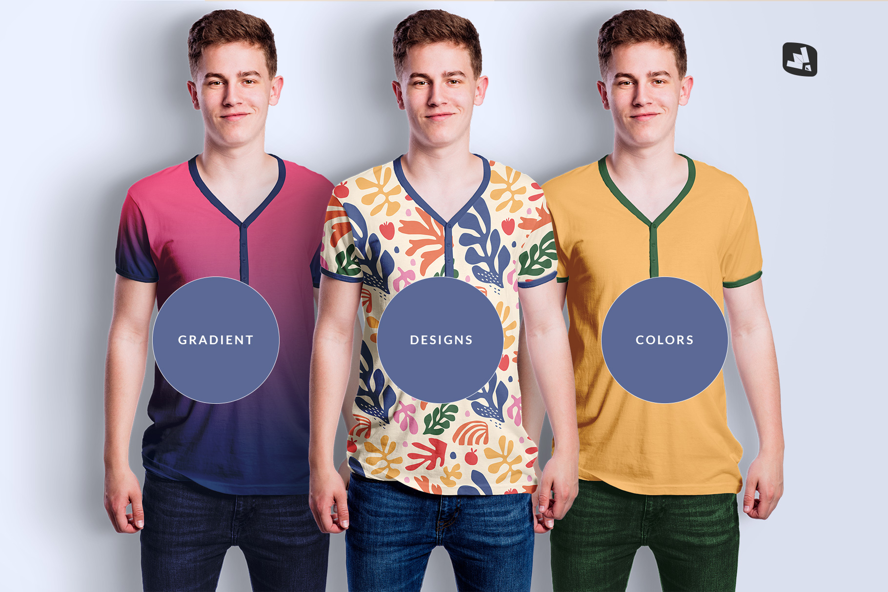 types of the mens vneck tshirt mockup