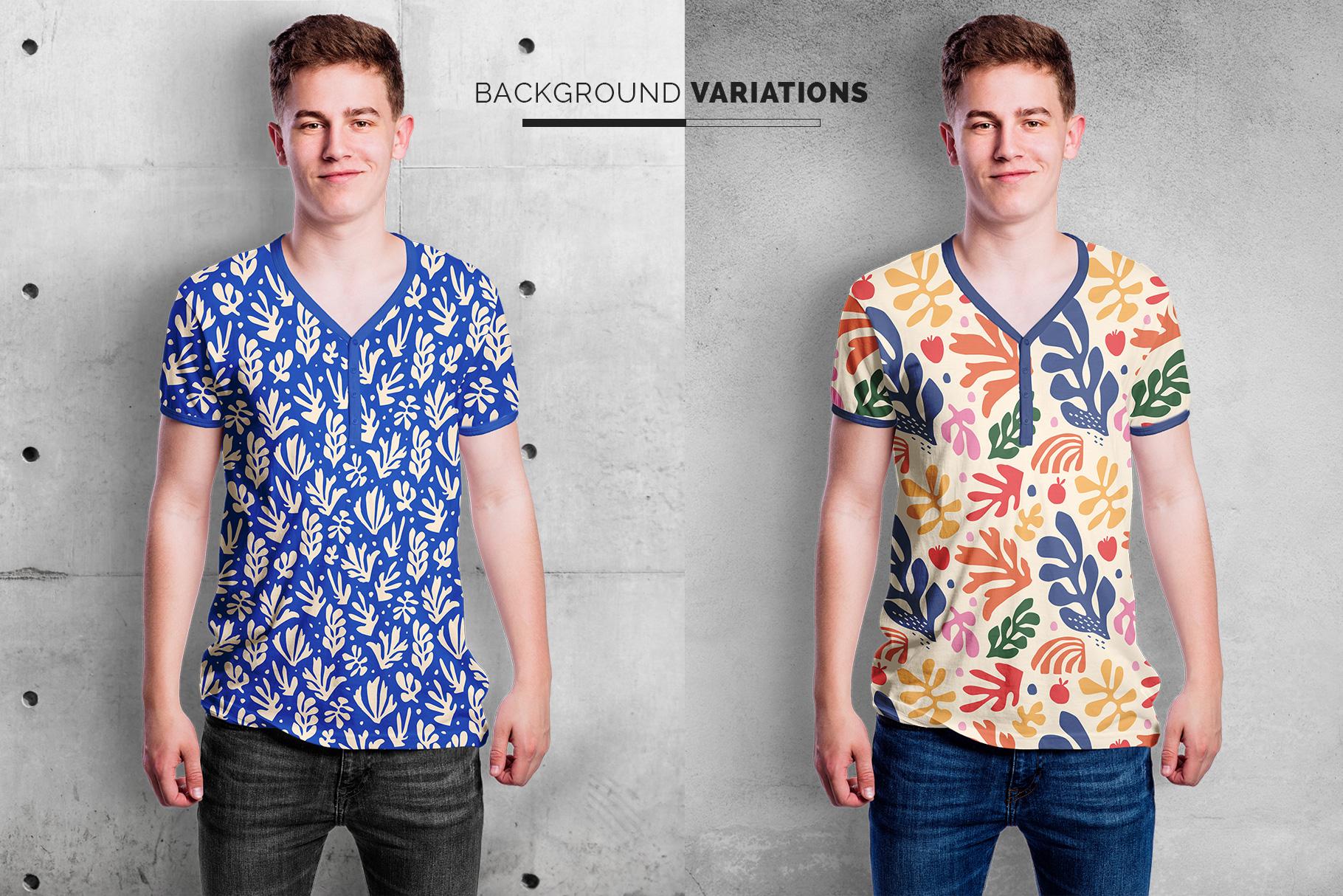 background options of the mens vneck tshirt mockup