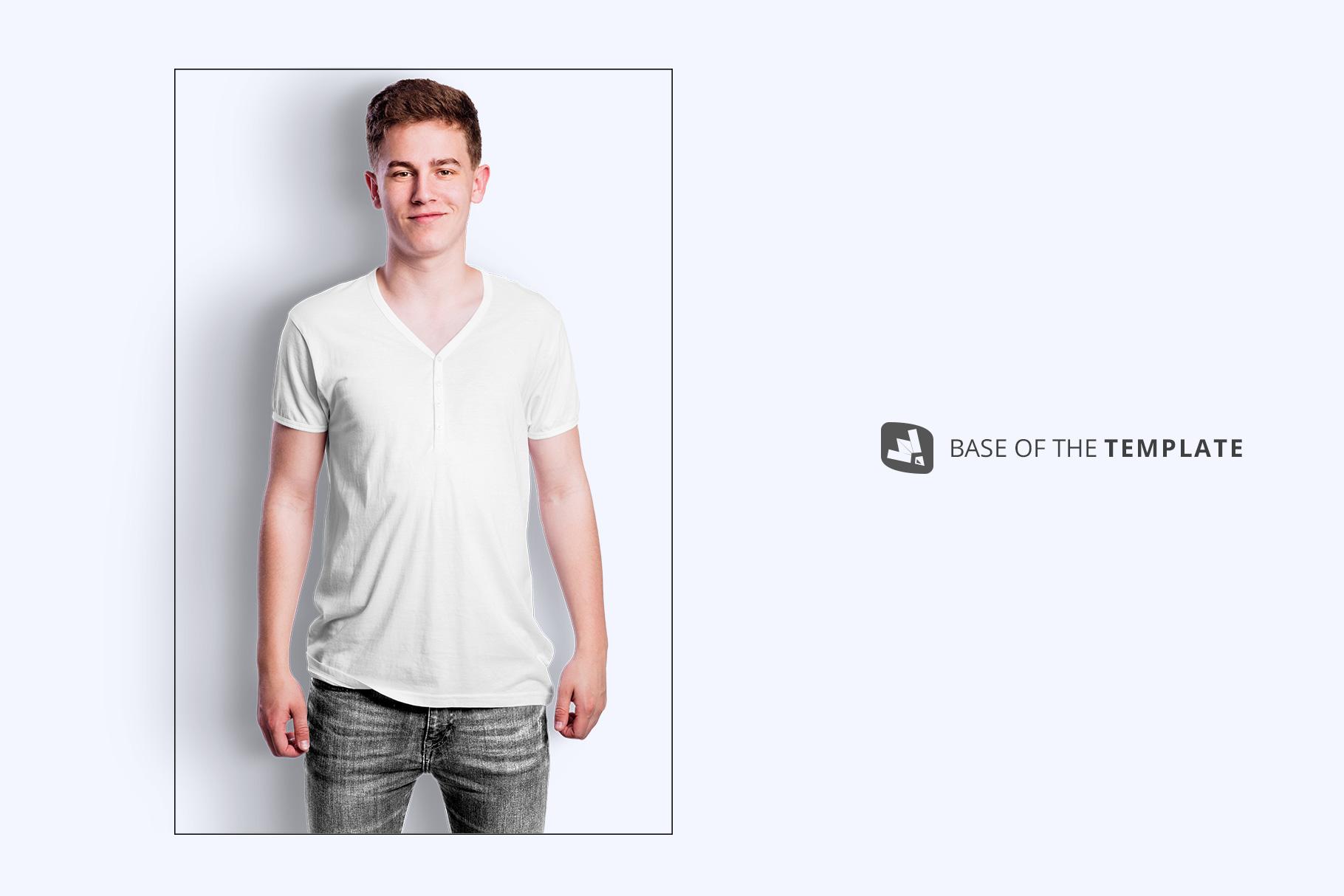 base image of the mens vneck tshirt mockup
