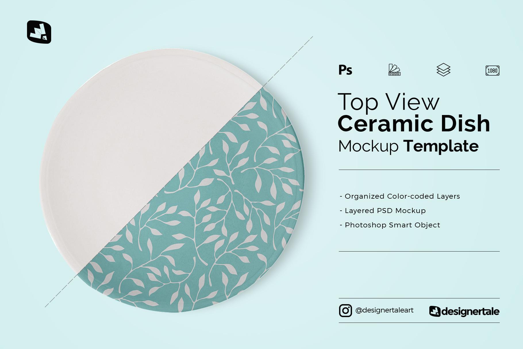 top view ceramic dish mockup