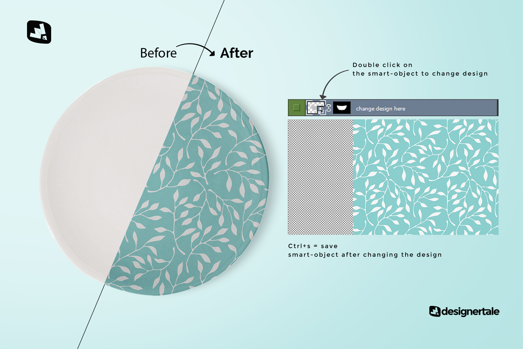 how to change design of the top view ceramic dish mockup