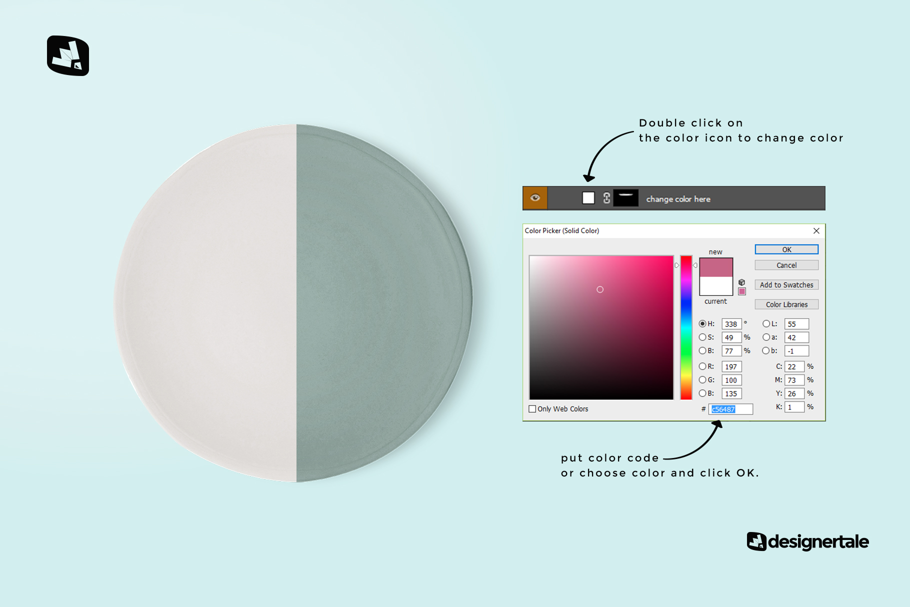 how to change color of the top view ceramic dish mockup