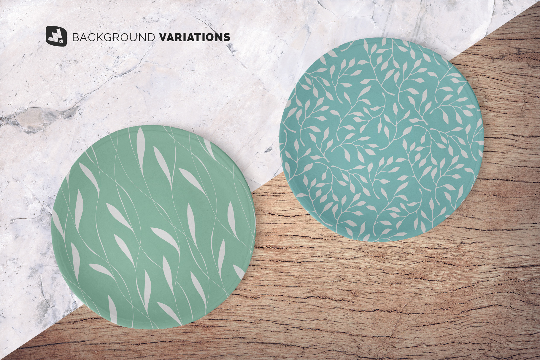 background options of the top view ceramic dish mockup