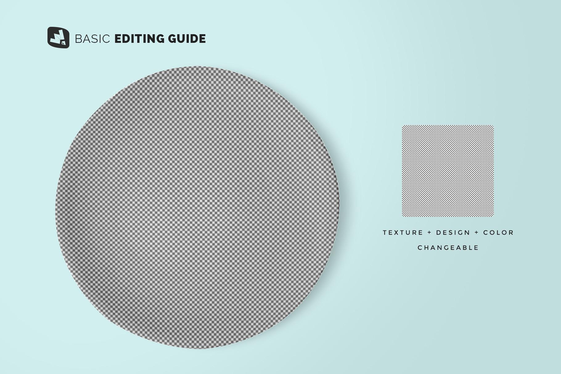 editability of the top view ceramic dish mockup