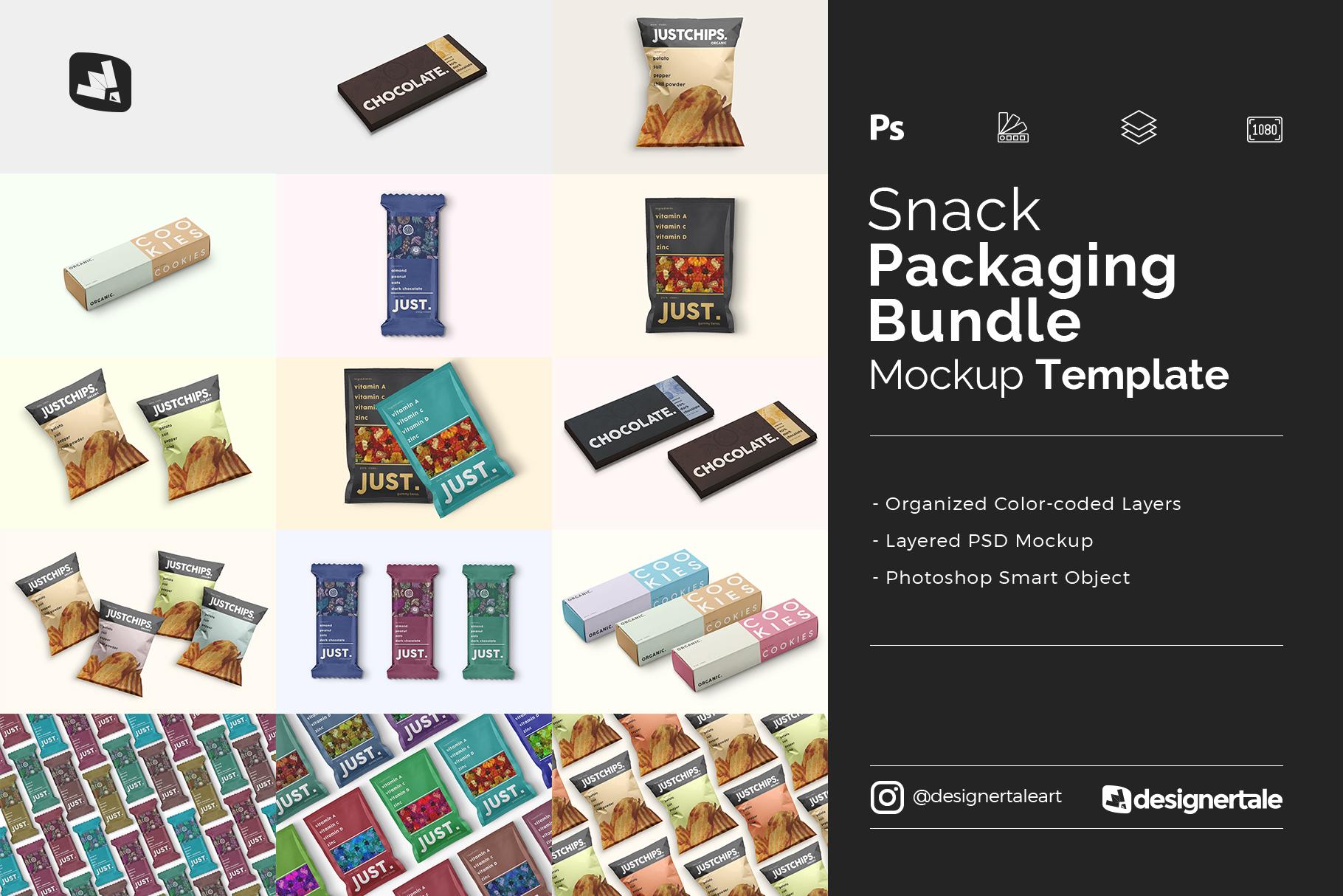 snack packaging mockup bundle
