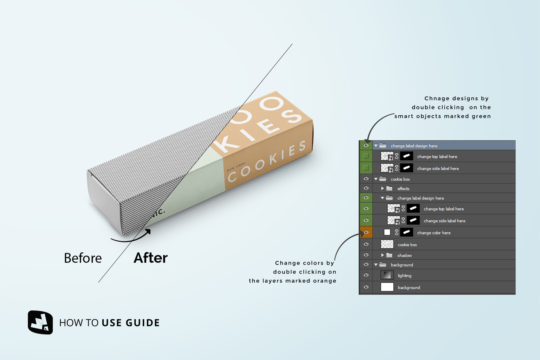how to change design of the snack packaging mockup bundle
