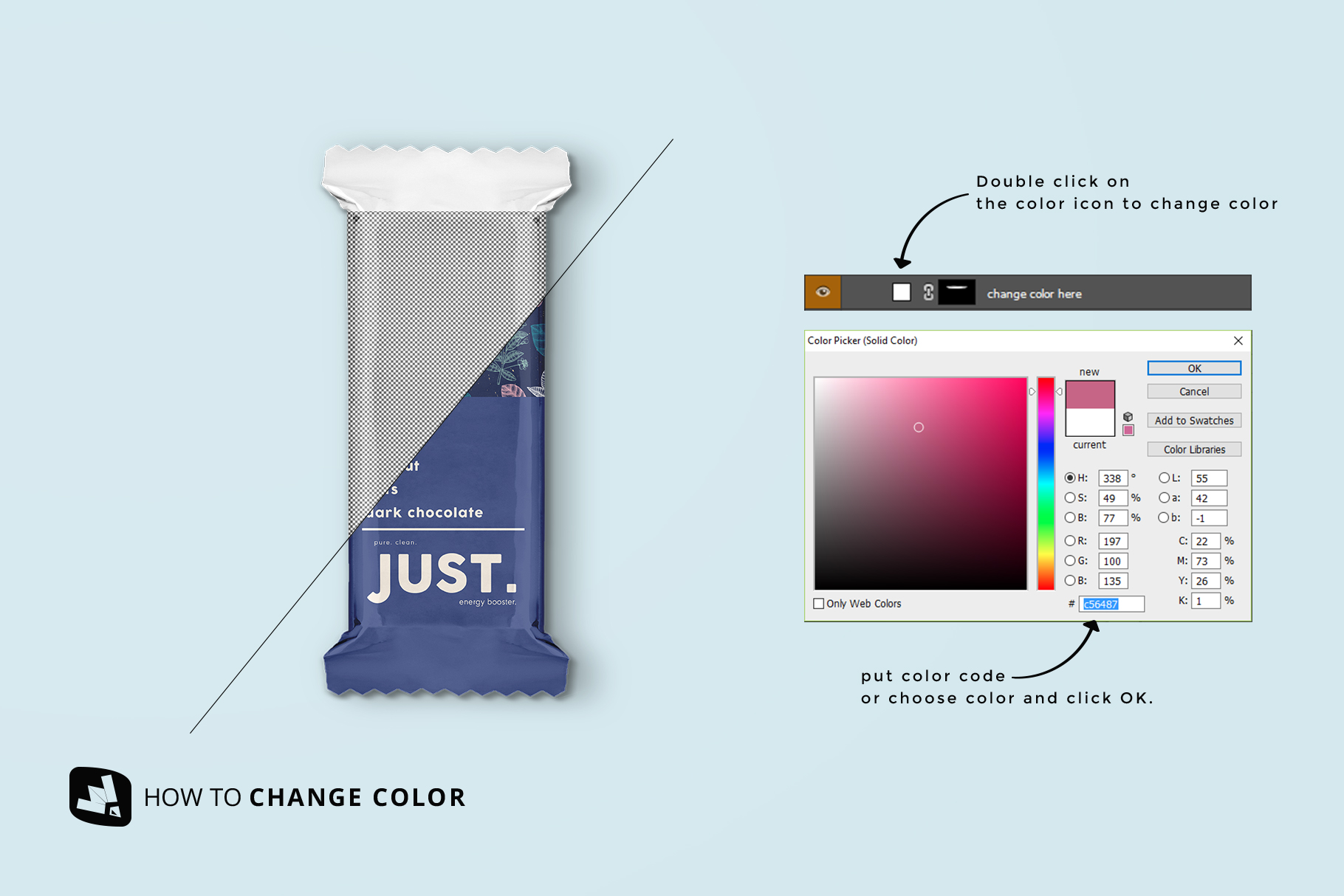 how to change color of the snack packaging mockup bundle