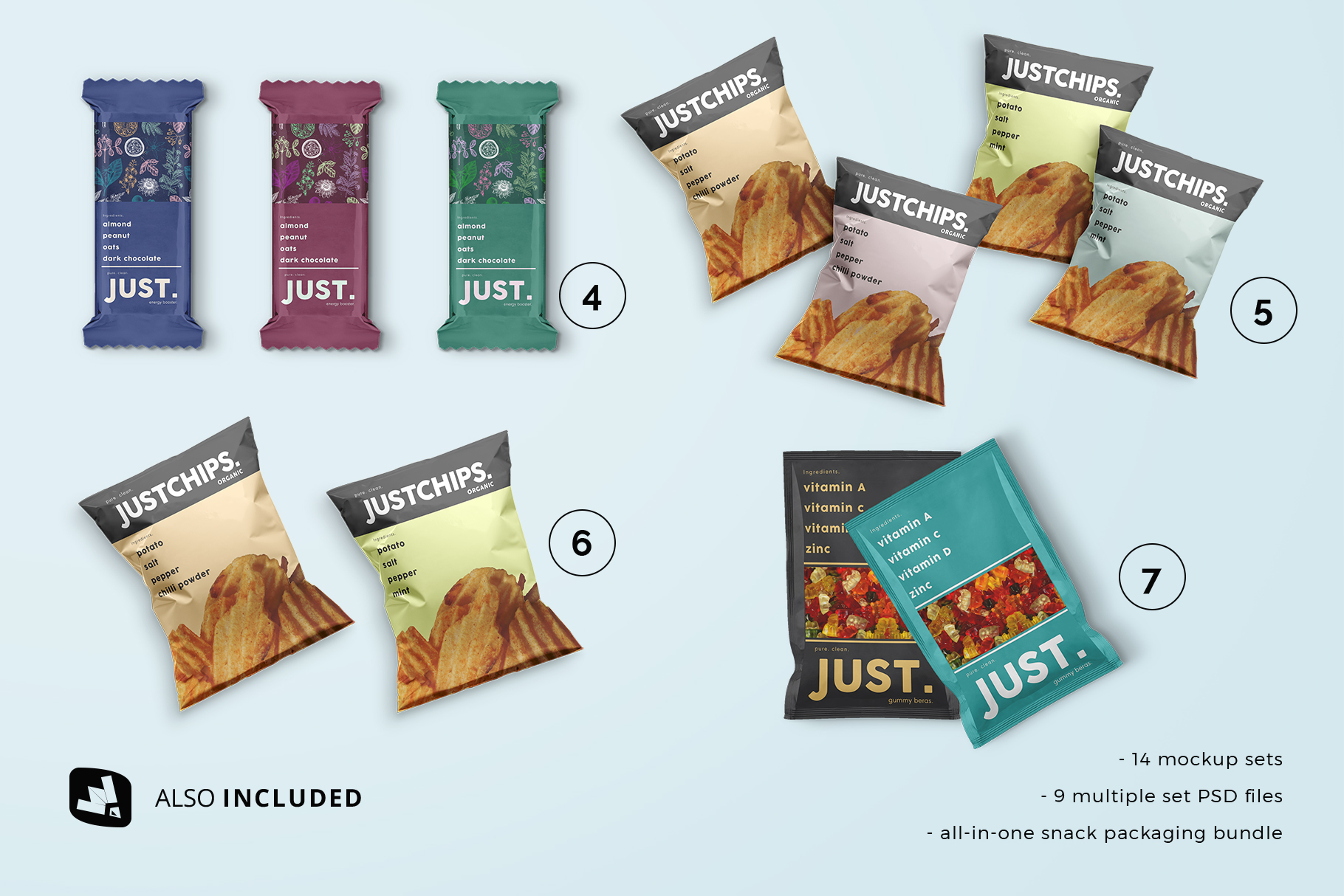 two and three set files included in the snack packaging mockup bundle