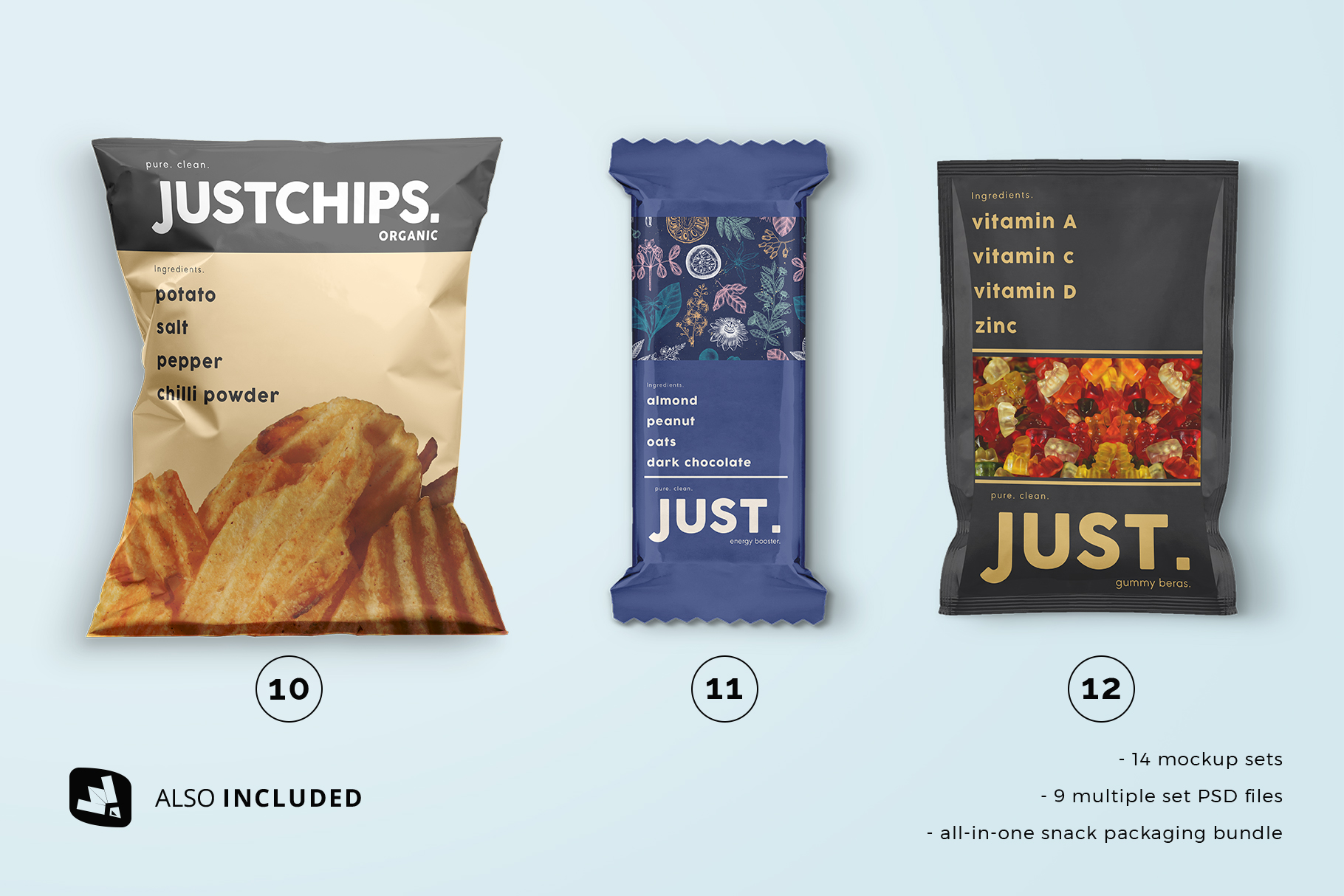 top view single files included in the snack packaging mockup bundle