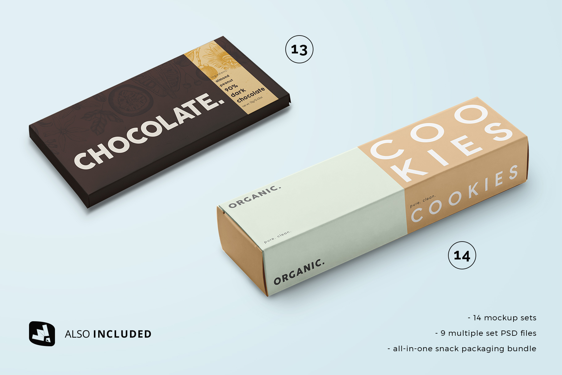 side view files included in the snack packaging mockup bundle