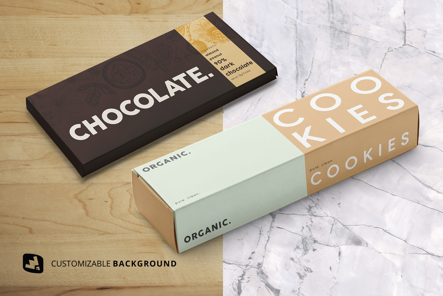 side view background options of the snack packaging mockup bundle