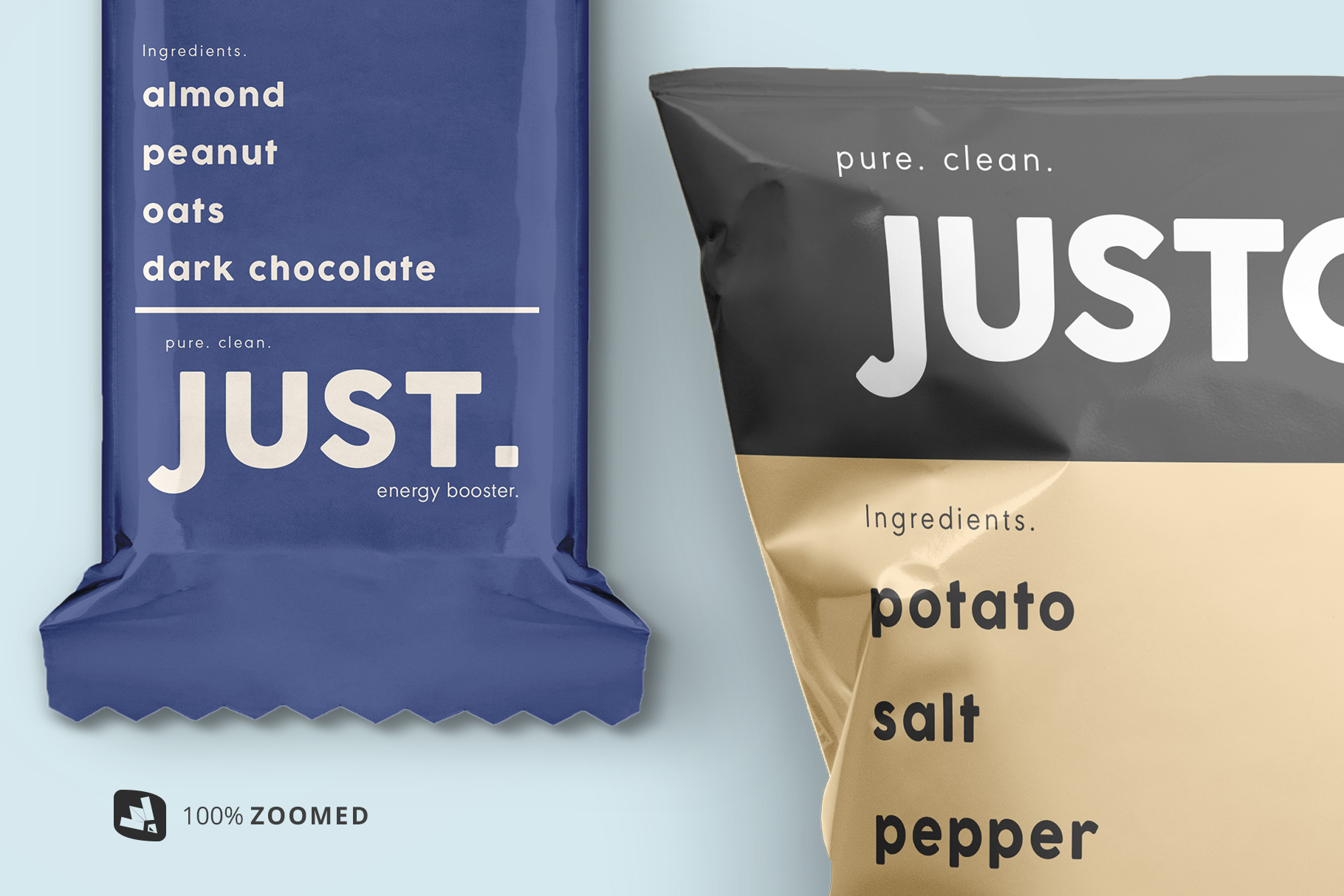 zoomed in images of the snack packaging mockup bundle