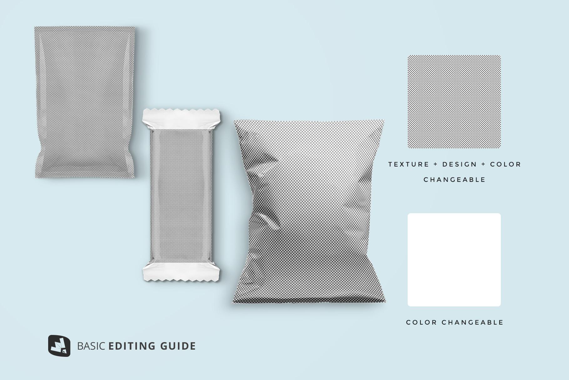 editability of the snack packaging mockup bundle