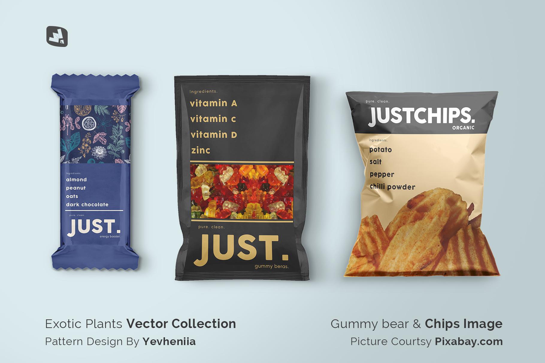 designer's credit of the snack packaging mockup bundle