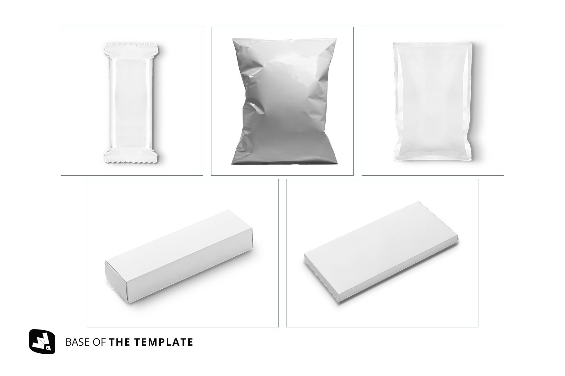 base images of the snack packaging mockup bundle