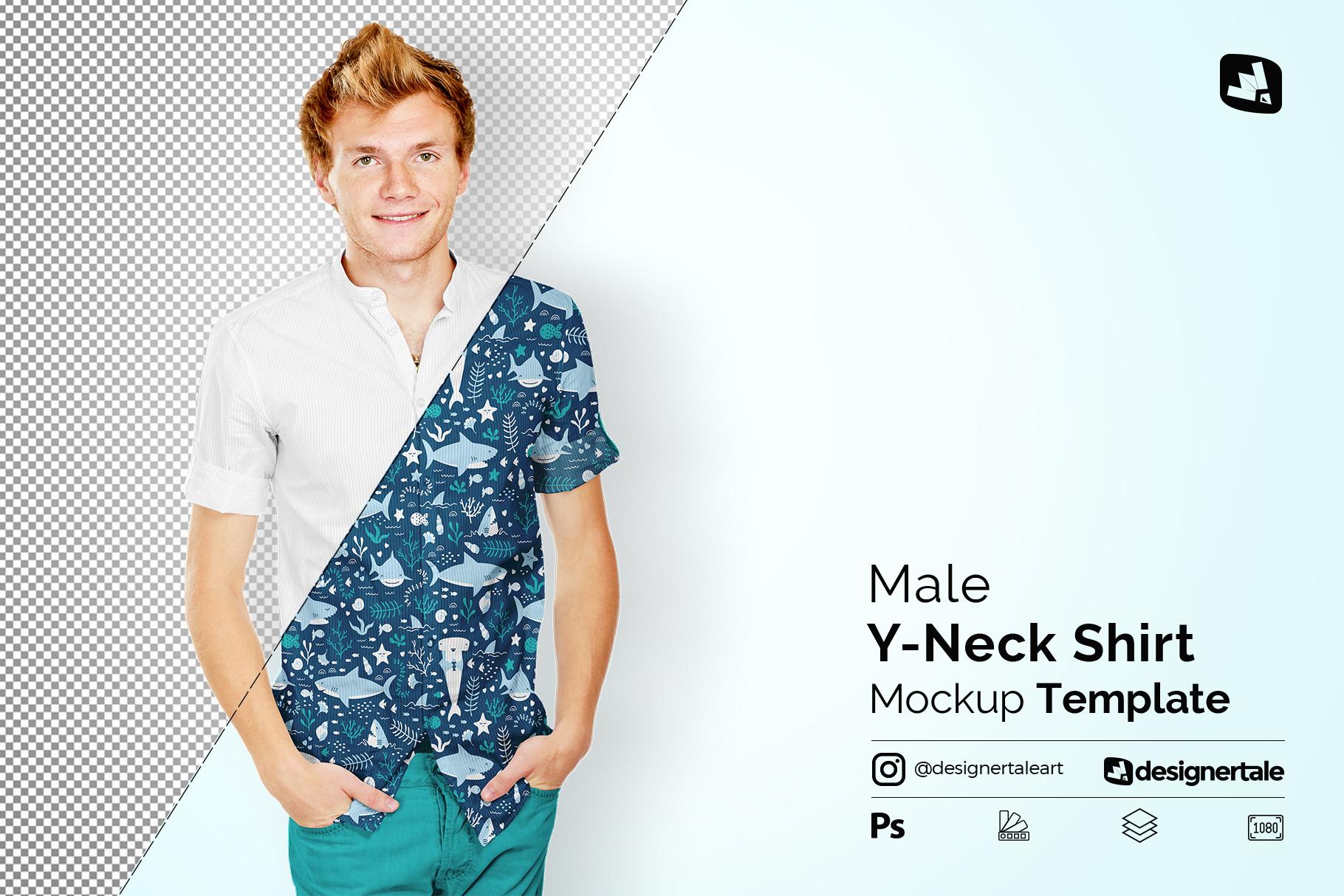 male y-neck shirt mockup