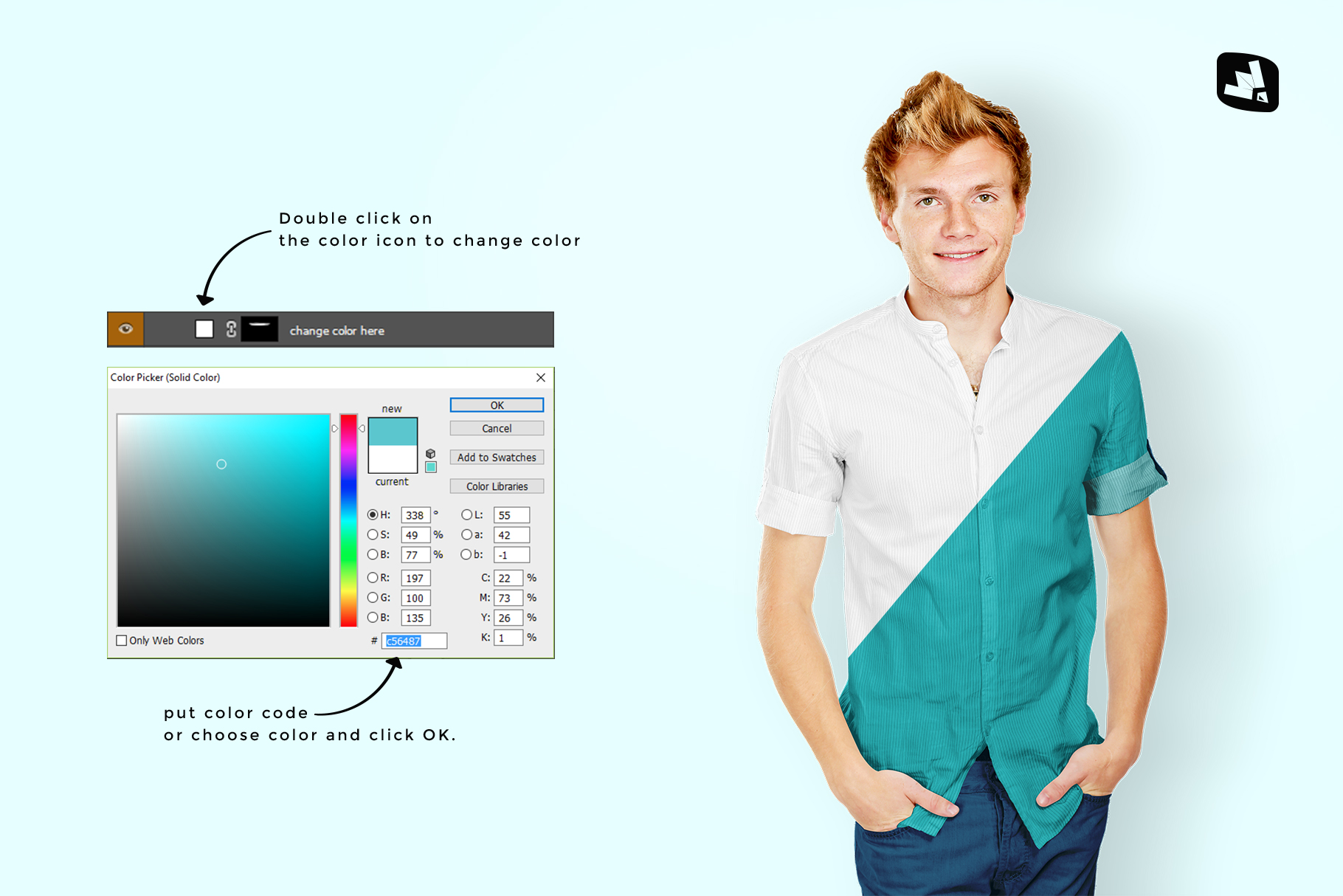 how to change color of the male y-neck shirt mockup