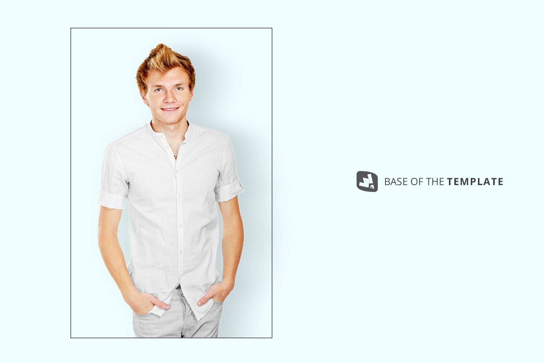 base image of the male y-neck shirt mockup