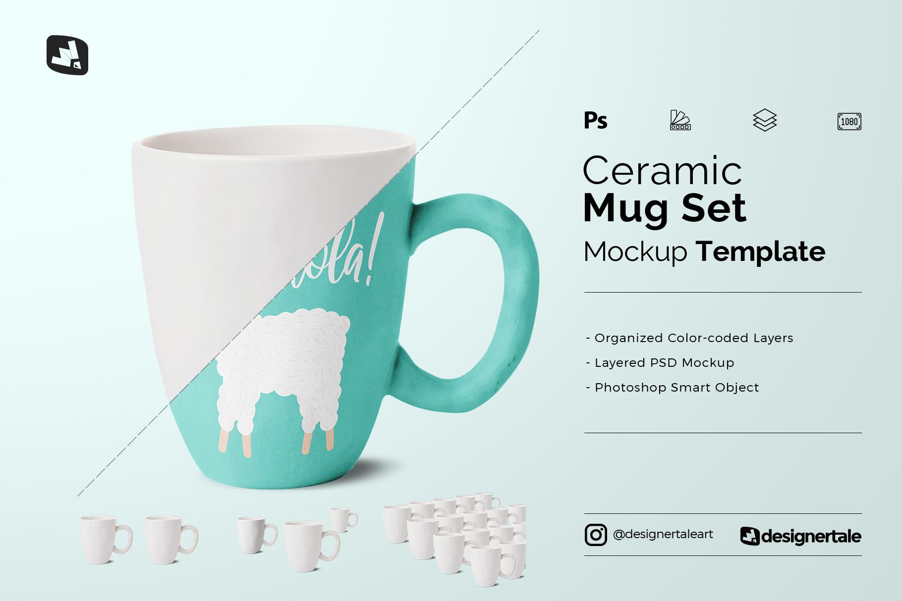 ceramic mug set mockup